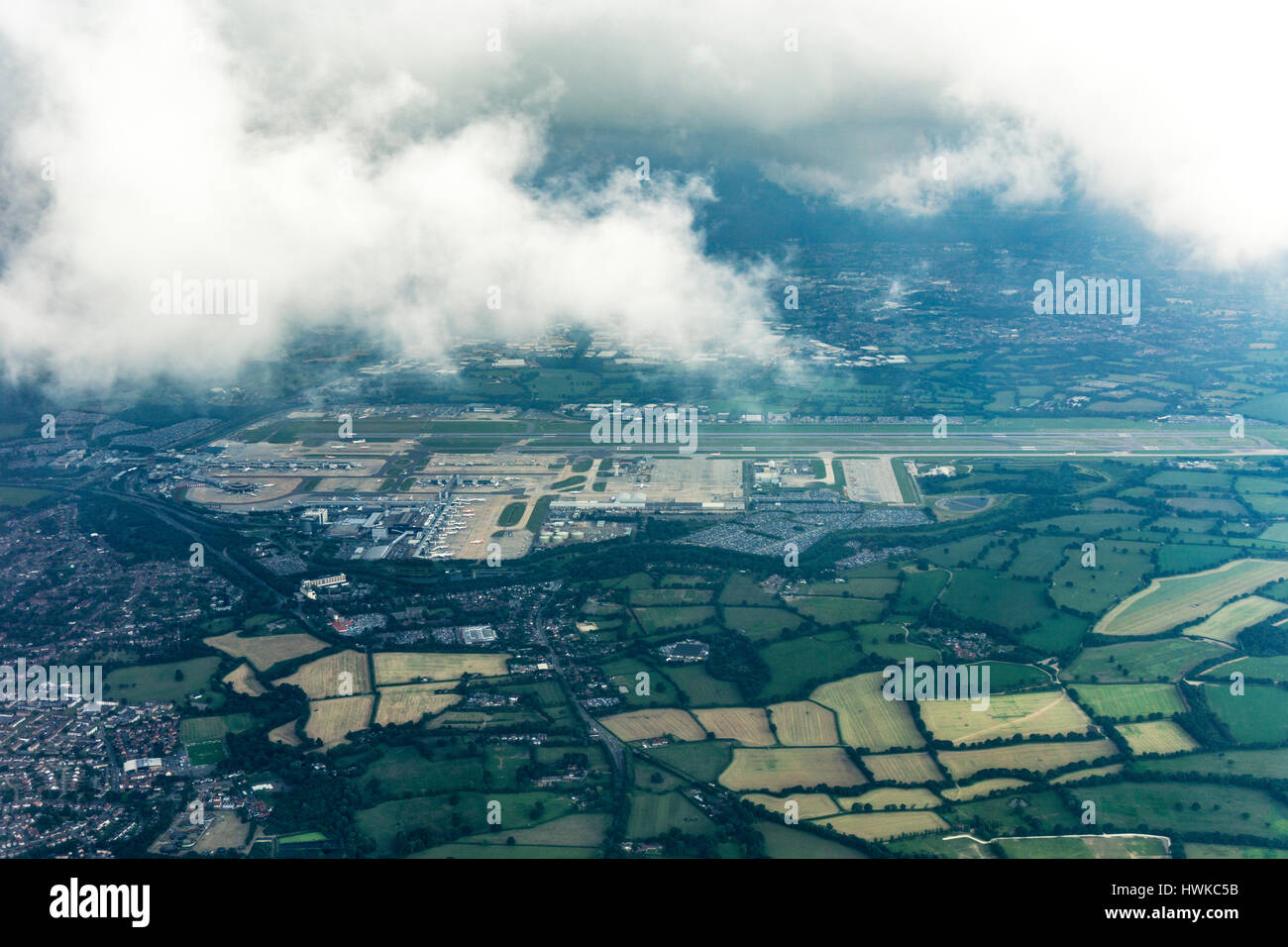 Aerial view of London Gatwick Airport, UK Stock Photo