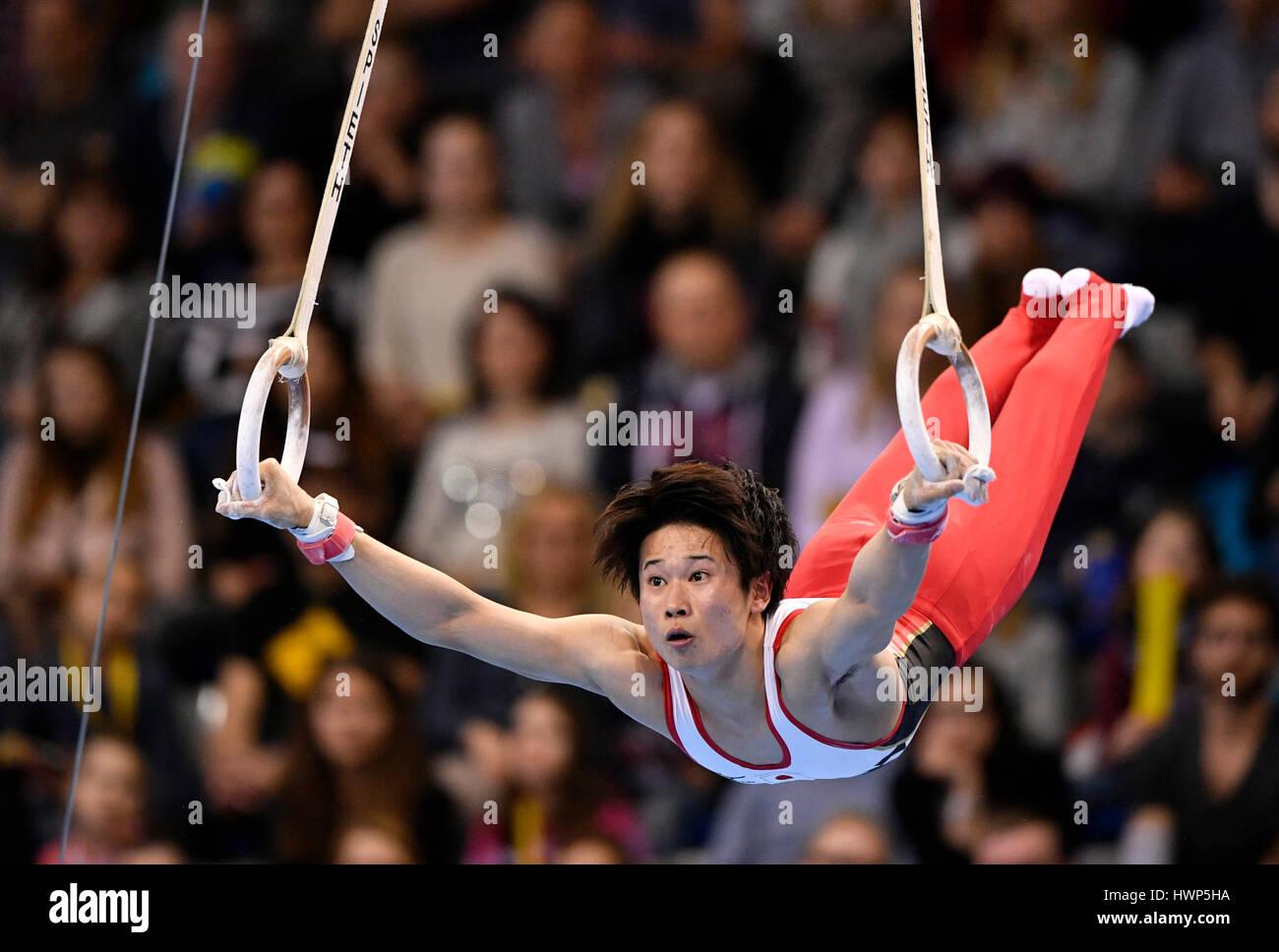Kazuma Kaya, Japan, on the rings, apparatus gymnastics, Porsche-Arena, Stuttgart, Baden-Württemberg, Germany Stock Foto