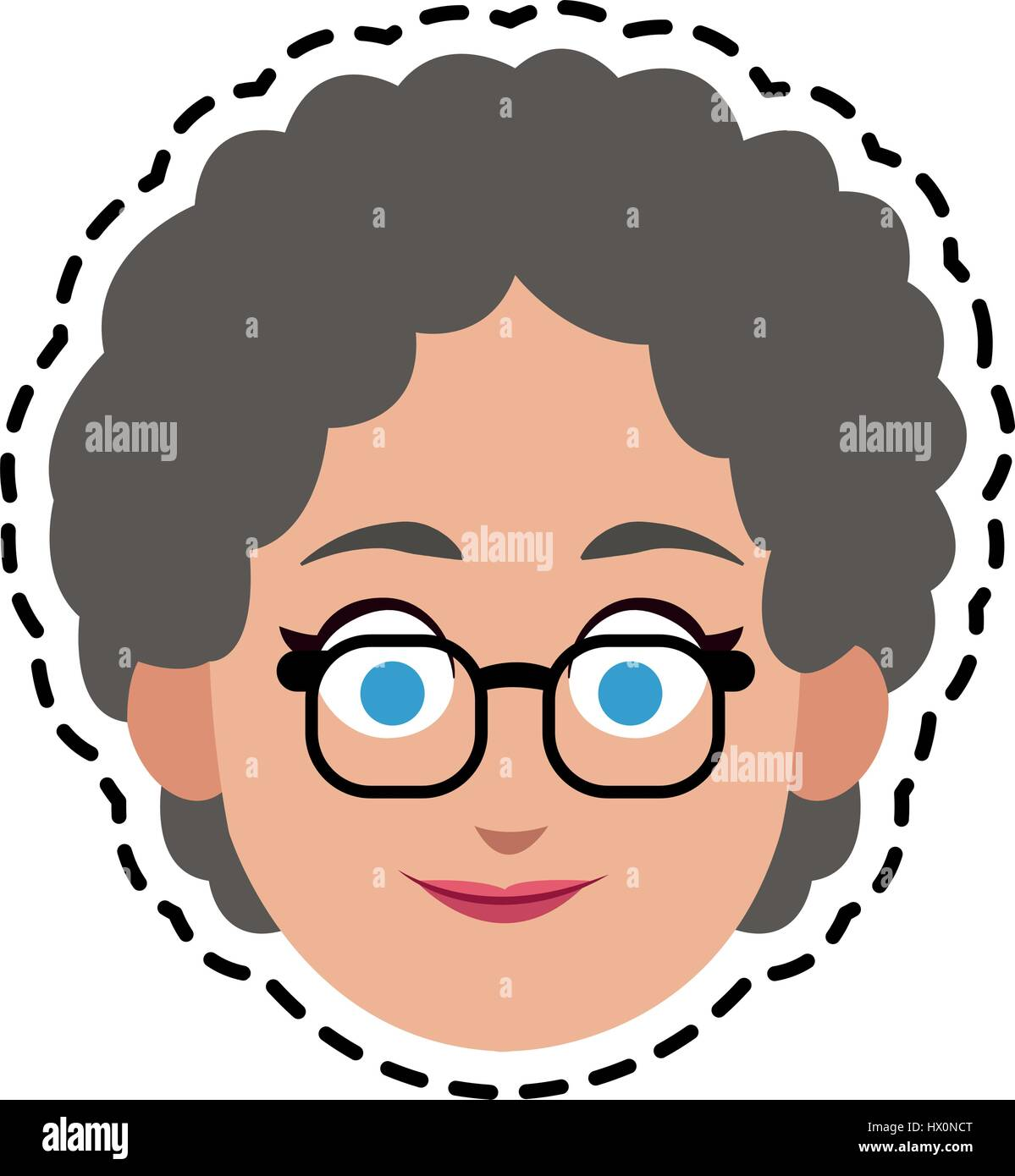 happy elderly woman with short curly hair cartoon icon