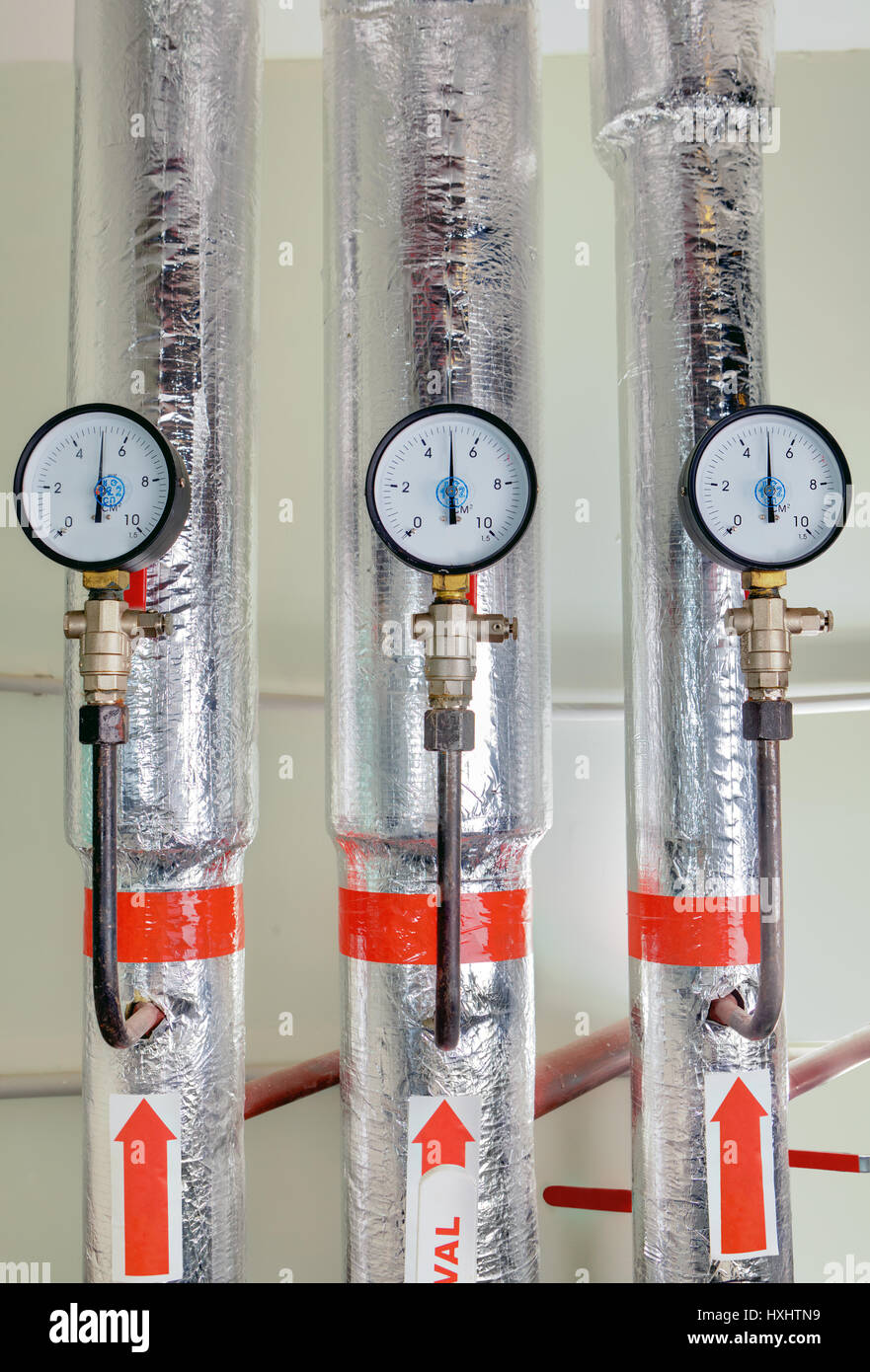 Three Pressure Gauge In A Boiler Room Next To The Hot