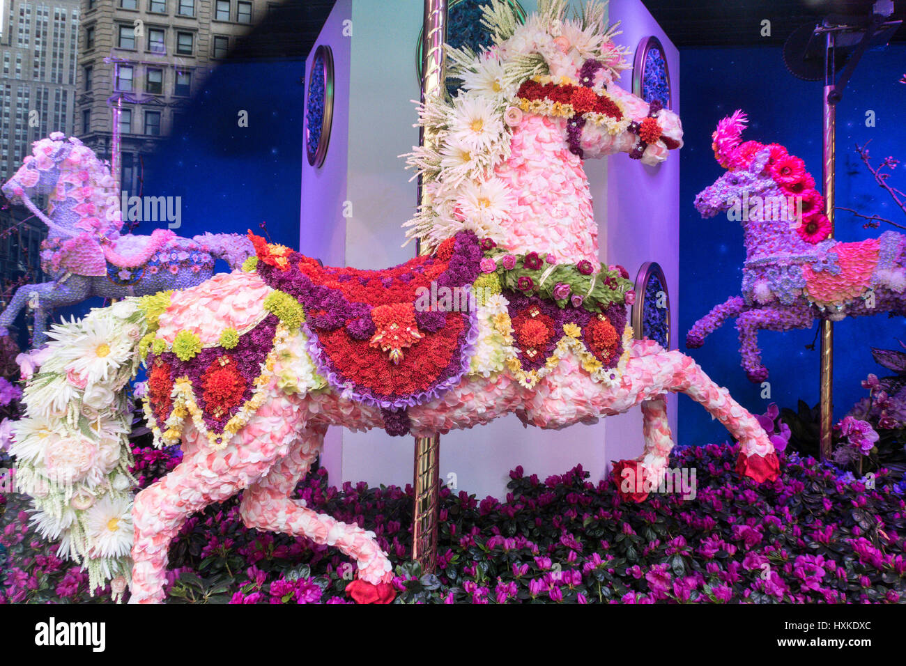 Macy s Carnival Themed Flower Show at Herald Square NYC USA Stock