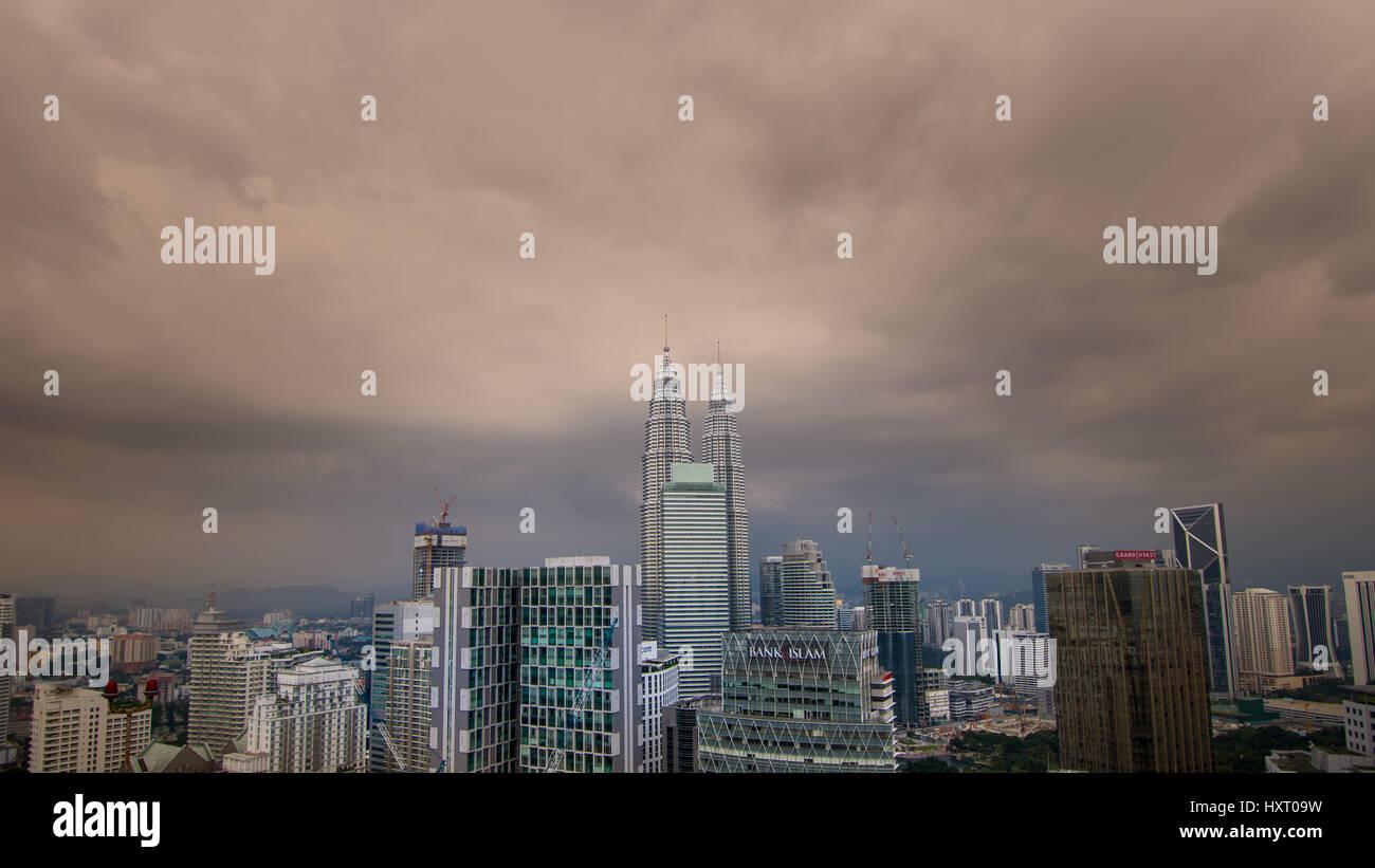 Kuala Lumpur cityscape skyline from high up view. Stock Photo
