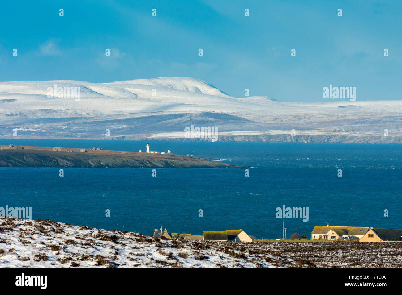 Hoy in the Orkney Isles and the lighthouse on the island of Stroma, from Duncansby Head, near John o' Groats, Caithness, Stock Photo