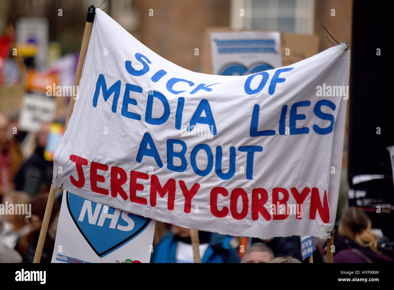 fake-news-comment-on-a-banner-supporting-jeremy-corbyn-stating-sick-HYP9BW.jpg