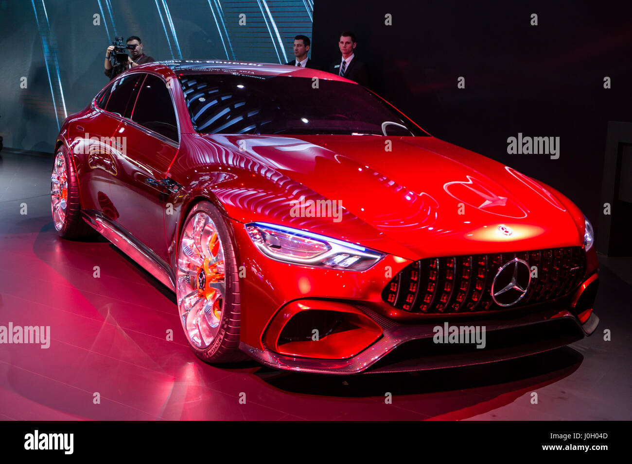 new york ny 12 april 2017 mercedes amg gt concept car with a v8 stock photo royalty free. Black Bedroom Furniture Sets. Home Design Ideas