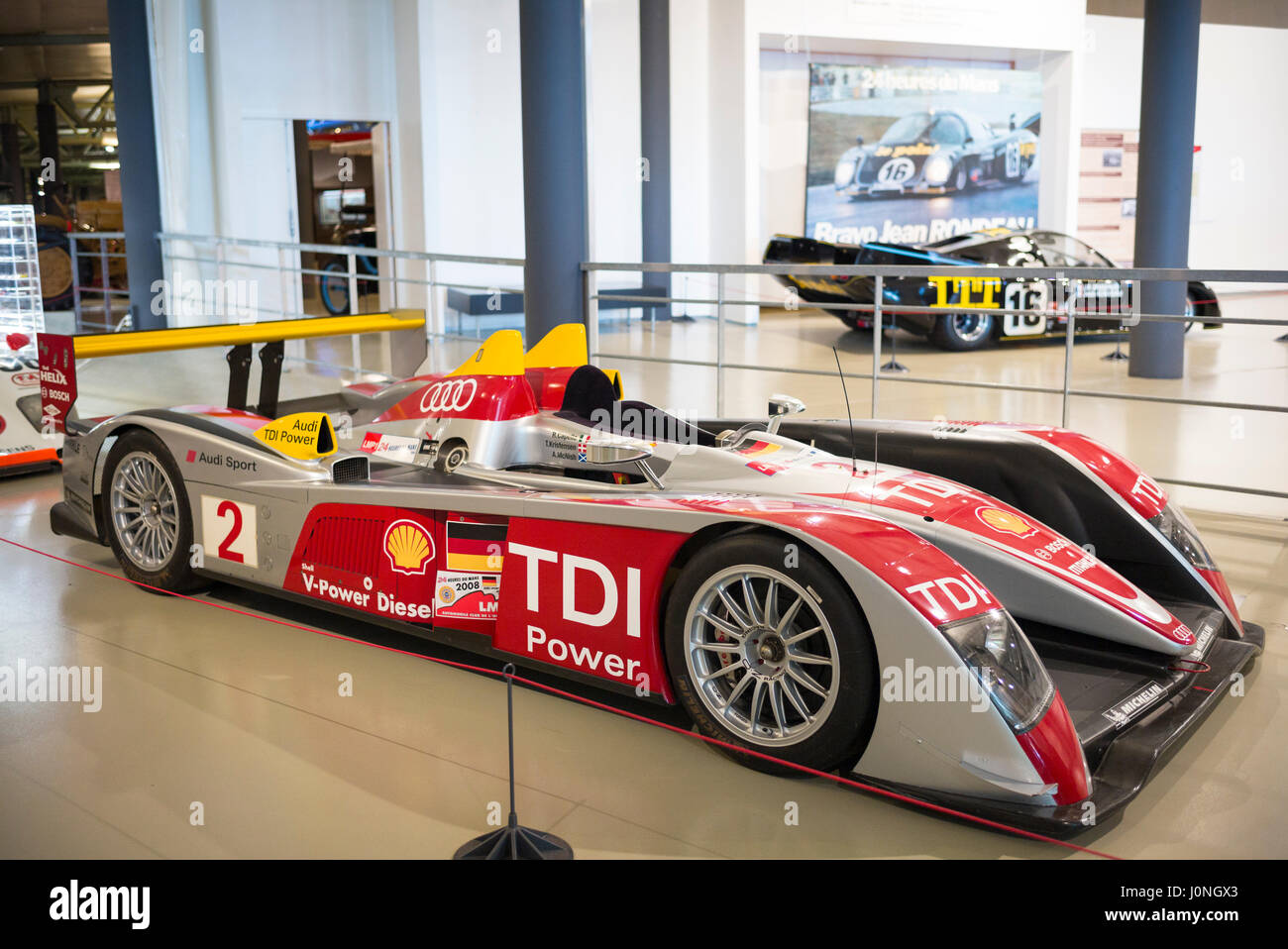 audi r10 tdi diesel race car 2008 at the exhibition musee at le mans stock photo royalty free. Black Bedroom Furniture Sets. Home Design Ideas