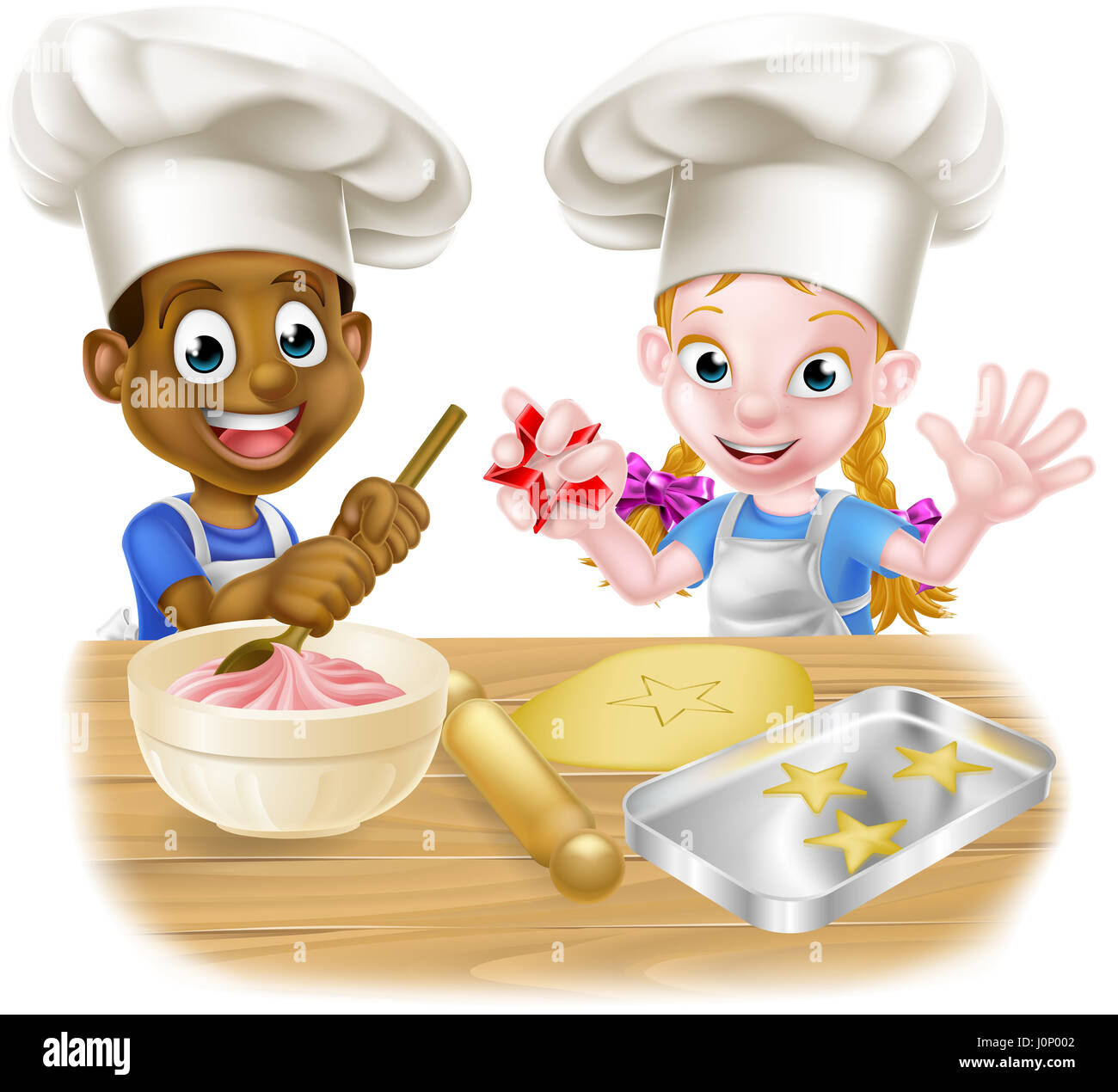 Messy Kitchen Baking: Cartoon Boy And Girl Kids, One Black One White, Dressed As