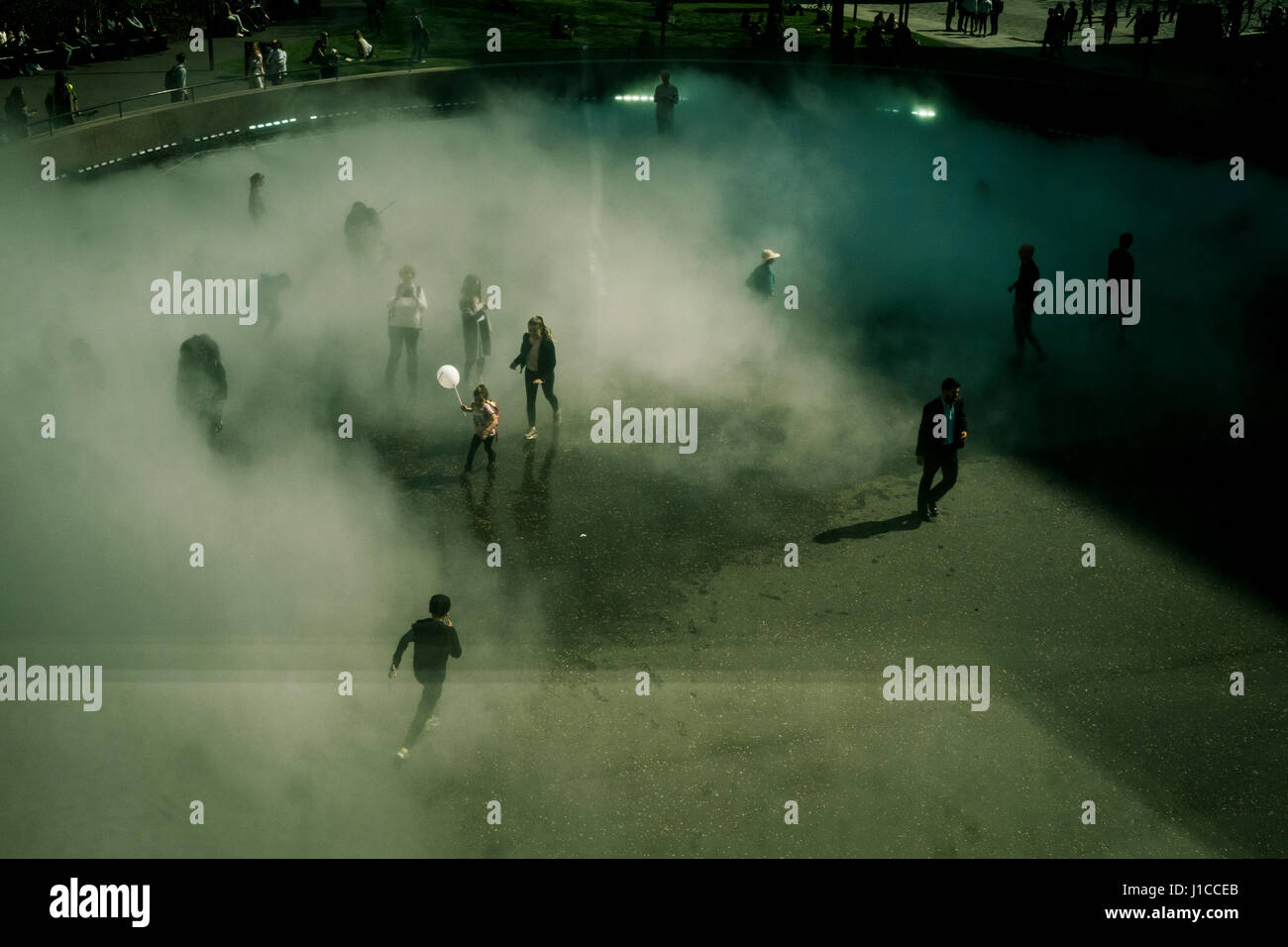 Fujiko Nakaya immersive fog sculpture at Tate Modern, London Stock Photo