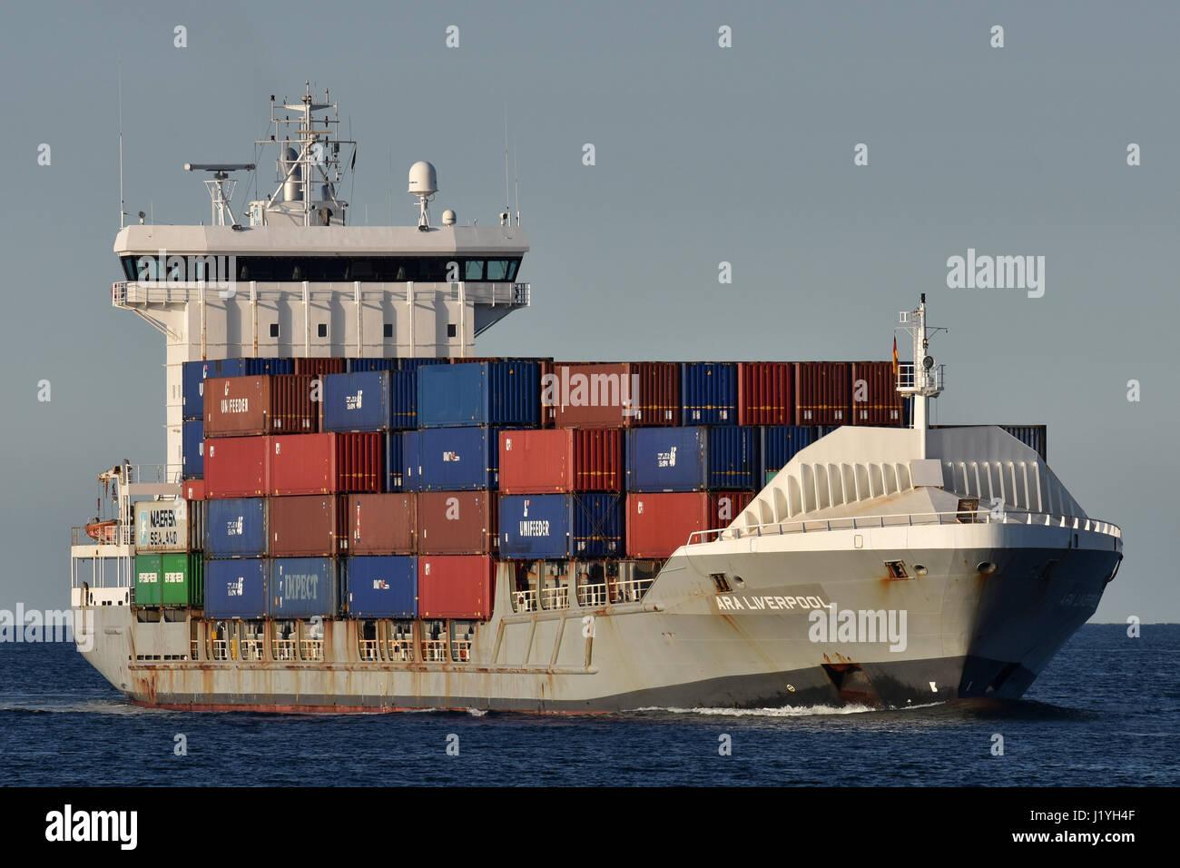 ARA Liverpool heading for Kiel Canal Stock Photo