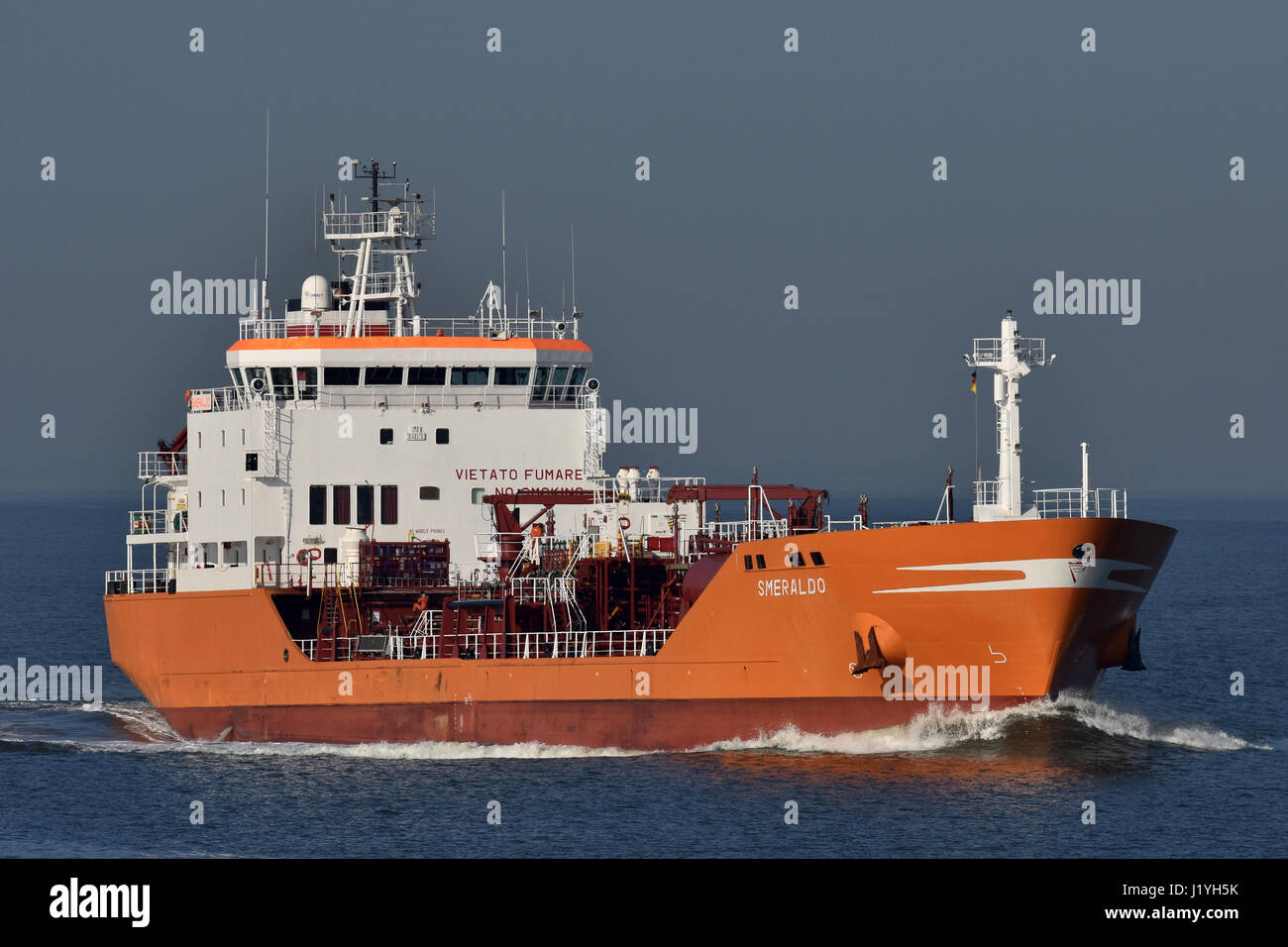 Smeraldo heading for Kiel Canal Stock Photo