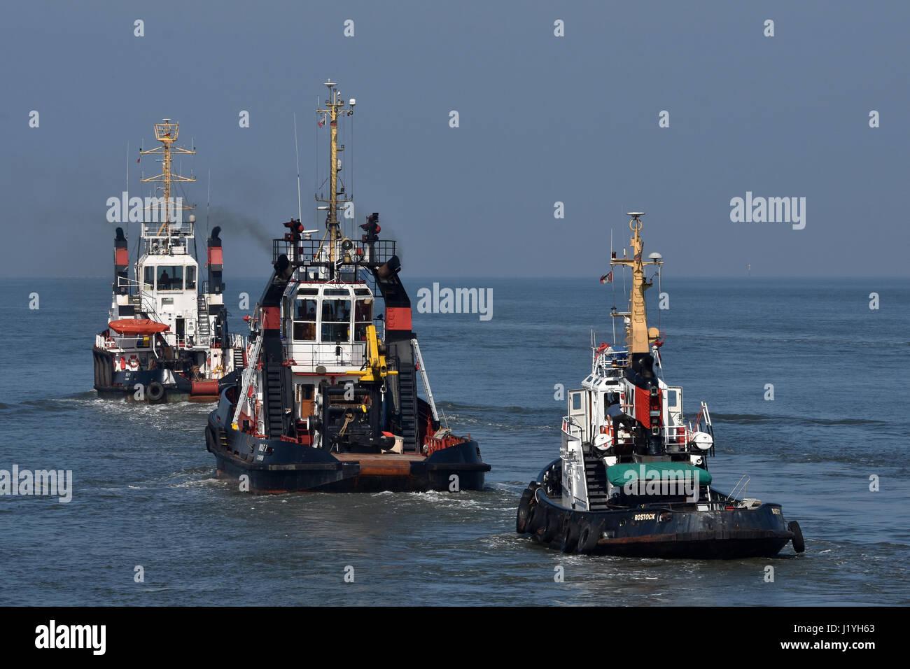 Wulf tugboats heading for sea Stock Photo