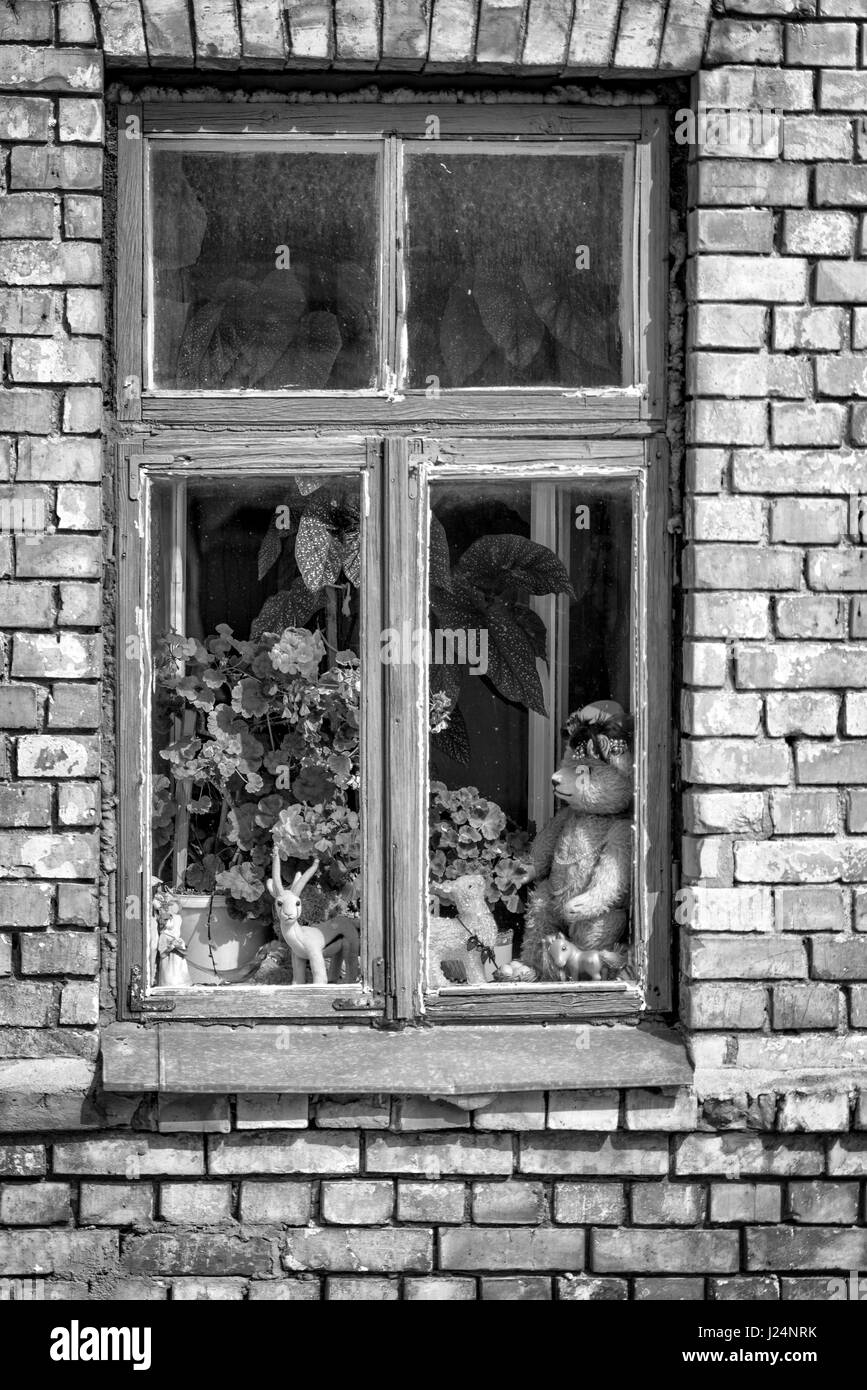 old wooden window black and white stock photos