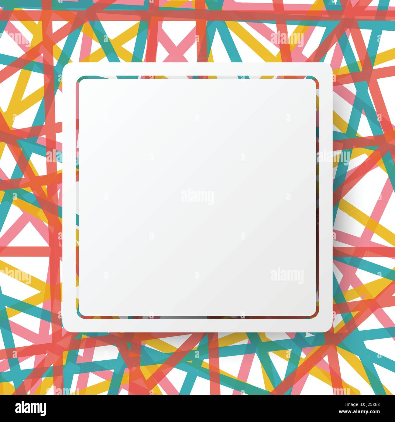 White Square Board And Border On Colorful Line Abstract