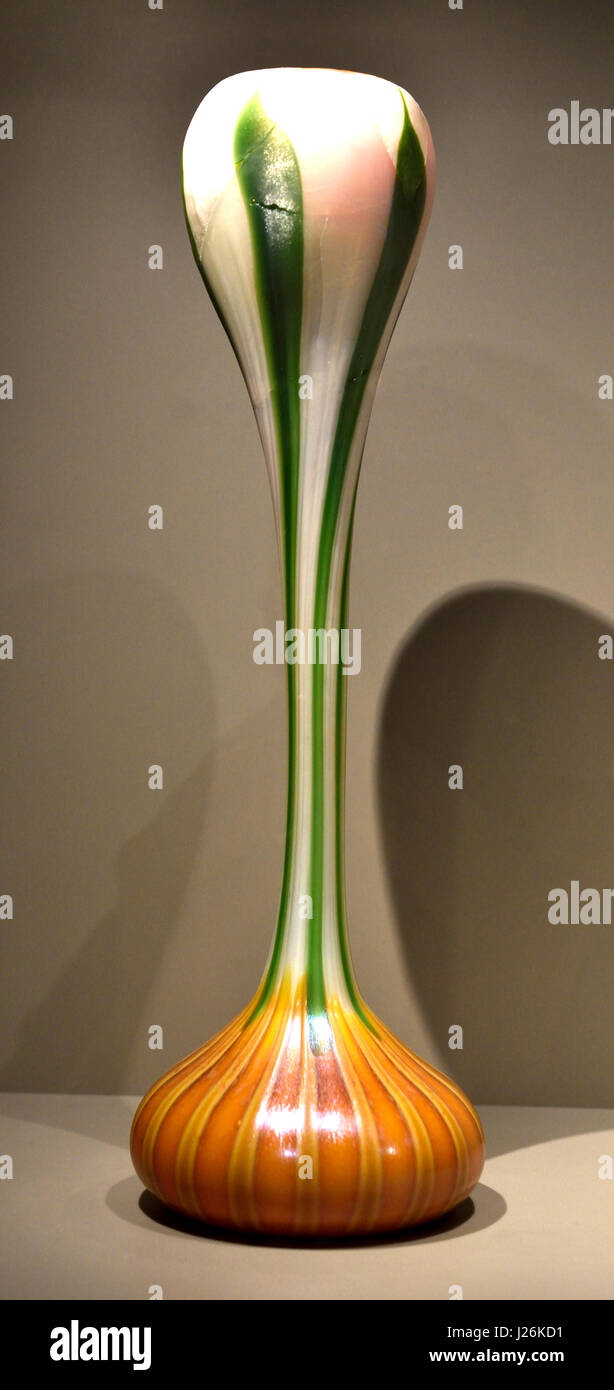 Vase in the shape of a blooming Crocus 1899 by Louis Comfort Tiffany 1848 –1933 Art Deco Art Nouveau New York - Stock Image