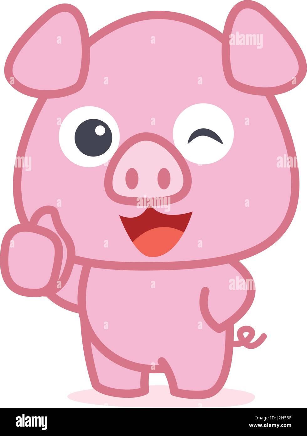 Character of cute pig cartoon stock vector art - Pig wallpaper cartoon pig ...