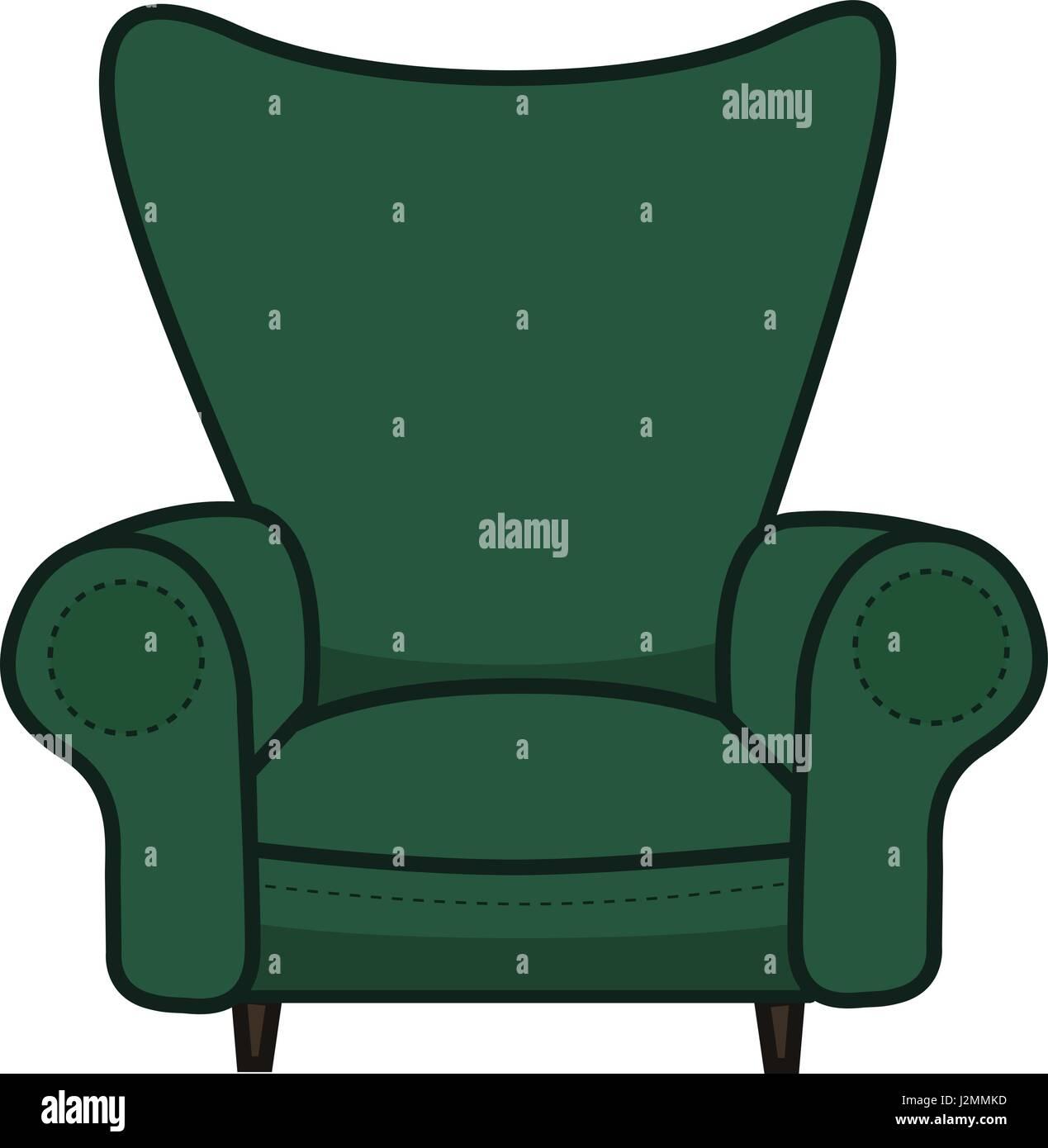 Animated Cartoon Armchair In Minimalist Vector Isolated On