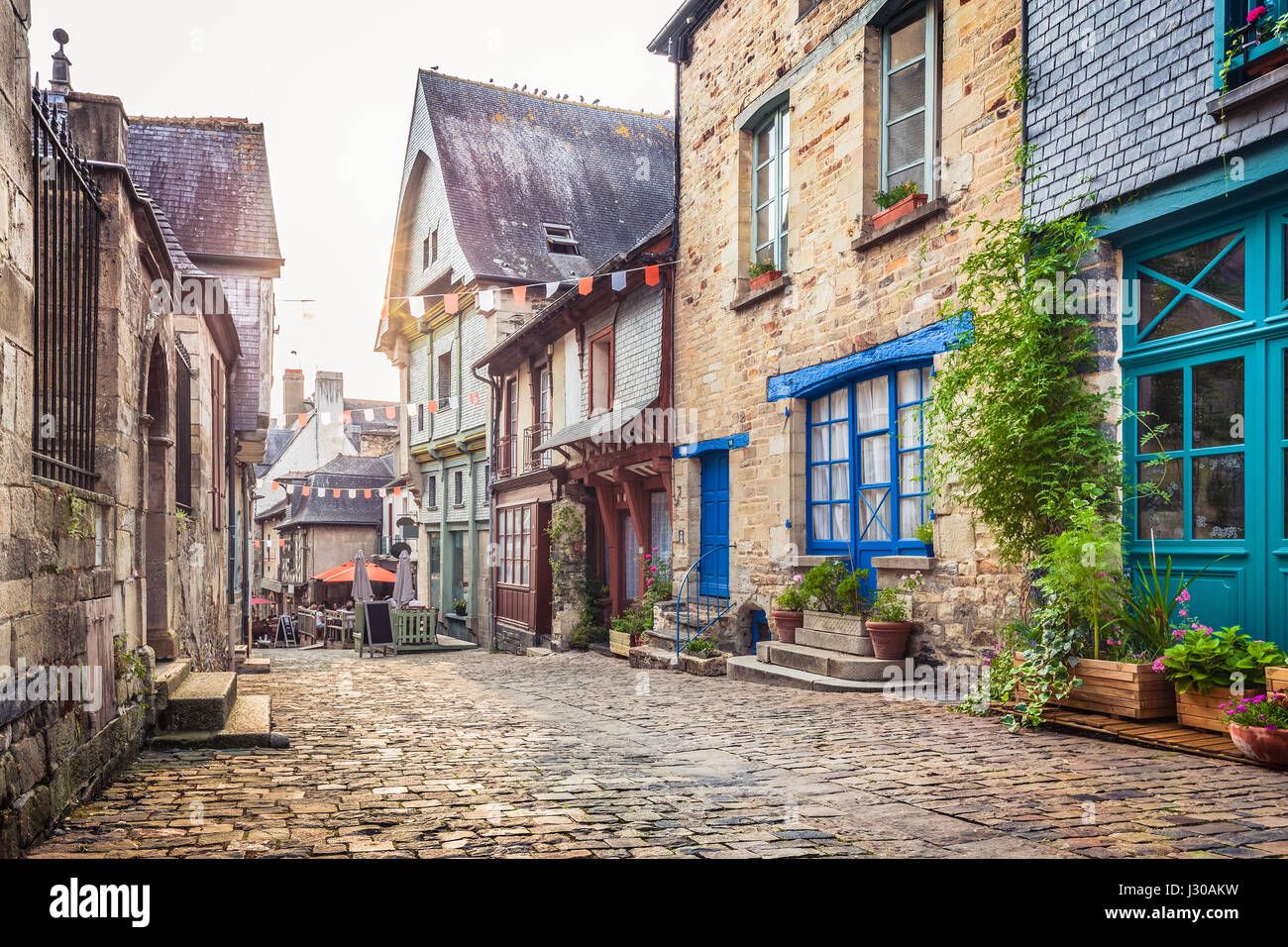 Panoramic View Of A Charming Street Scene In An Old Town