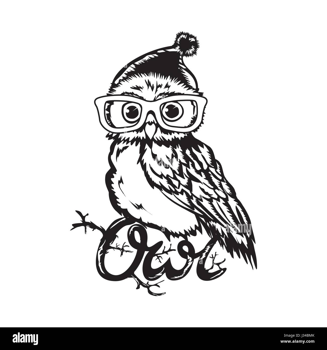 Wise owl cartoon black and white