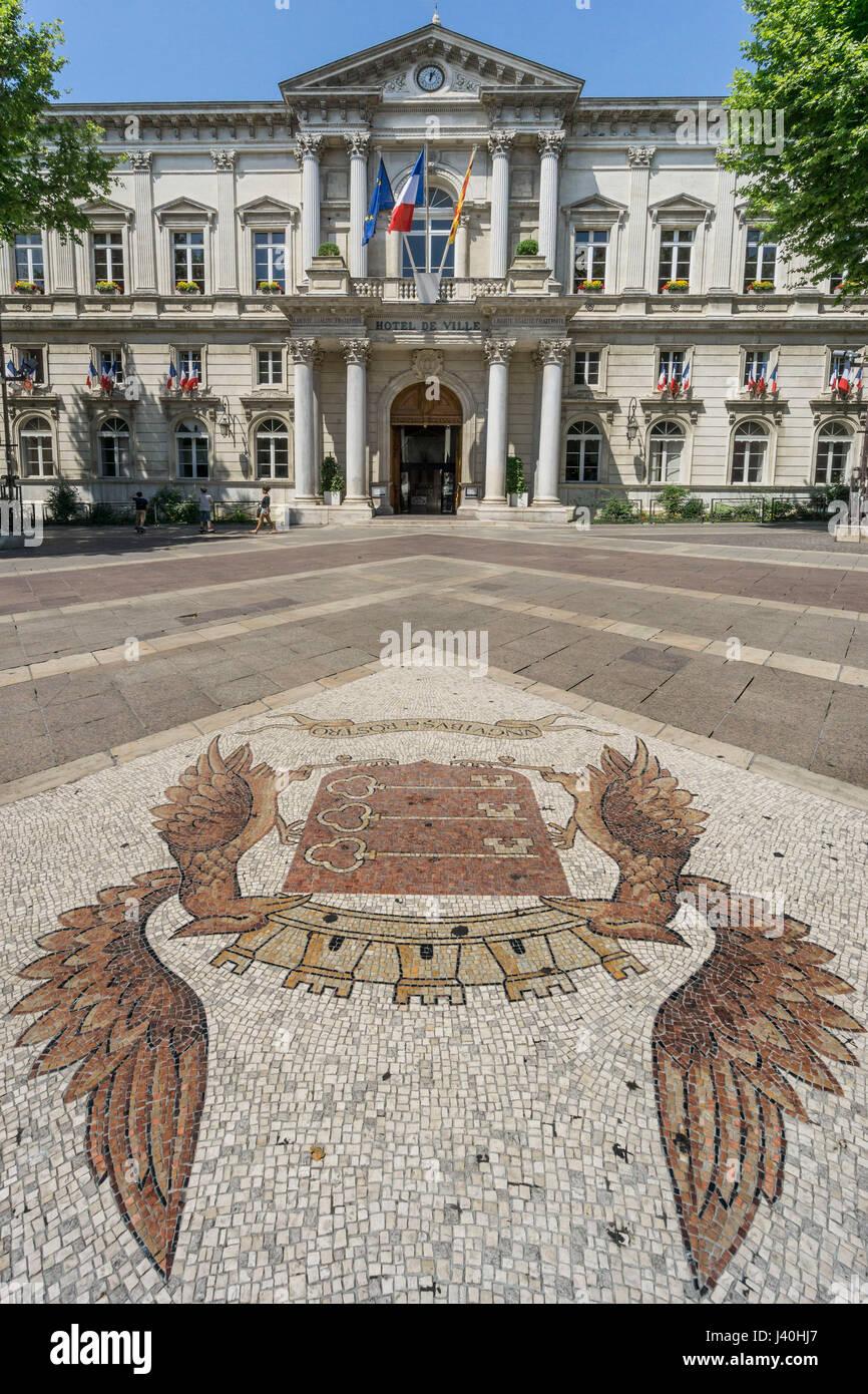 Hotel de Ville,Place de Horloge,  Cobble Stone Mosaic, Avignon, Bouche du Rhone, France Stock Photo