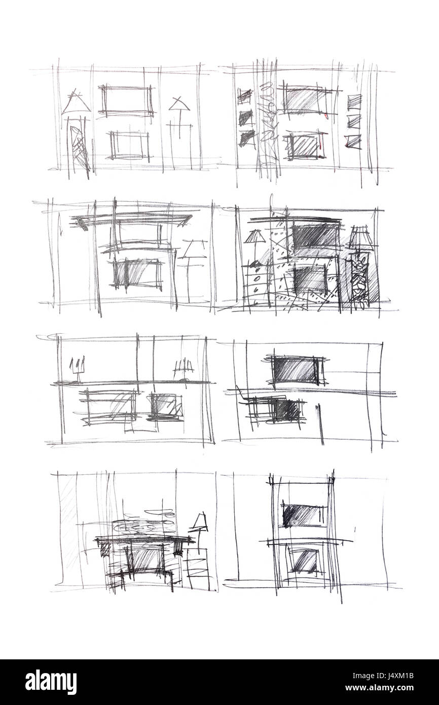 Living Room Sketch: Rough Sketches Of Living Room Interiors And Furniture