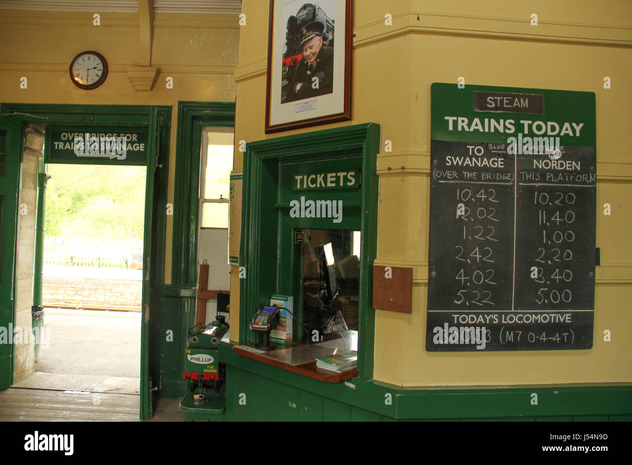 Swanage, UK -  12 May: Corfe station ticket office, the station serves the Swanage to Norden steam train service.General - Stock Image