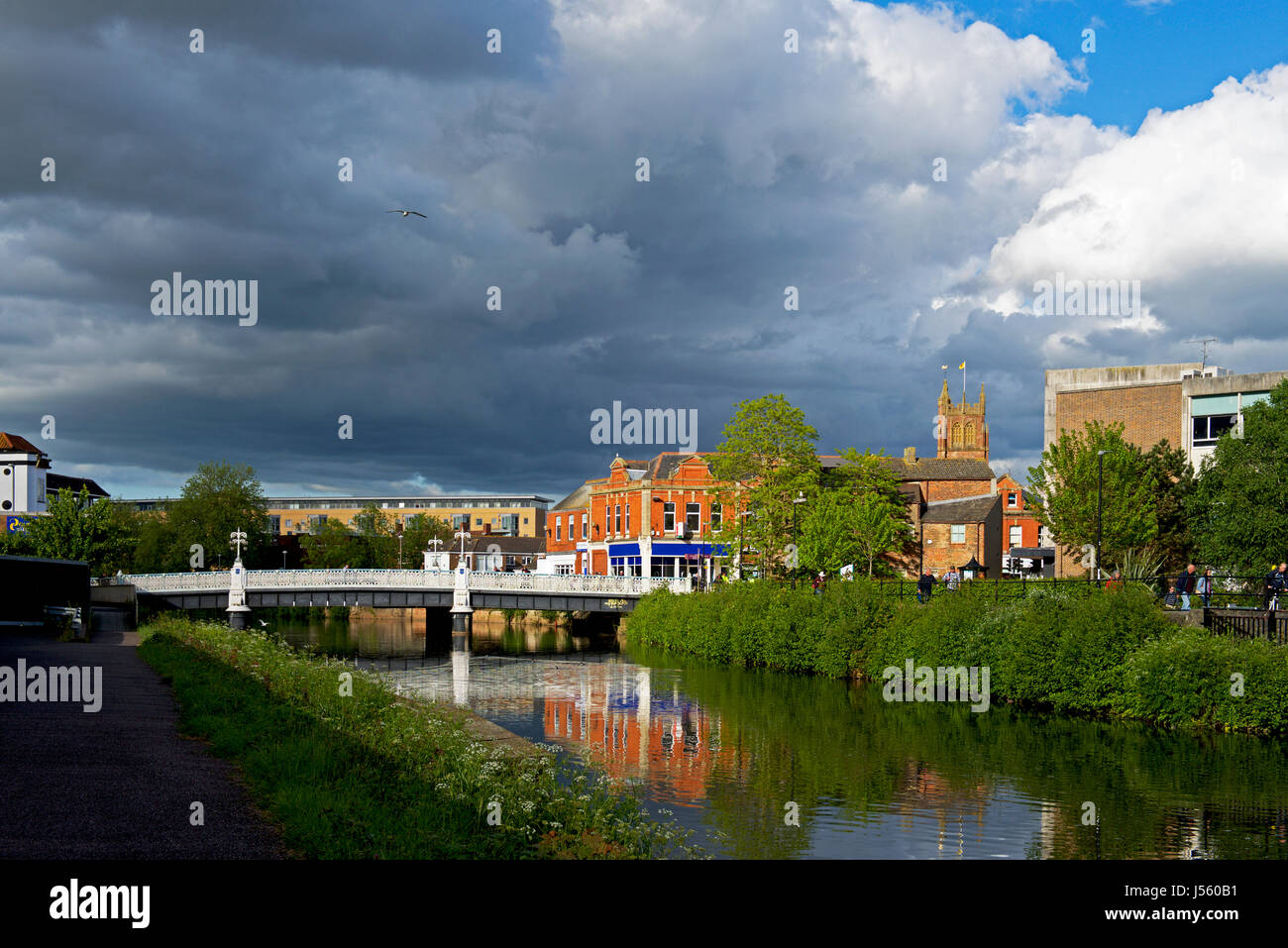 The River Tone in Taunton, Somerset, England UK - Stock Image