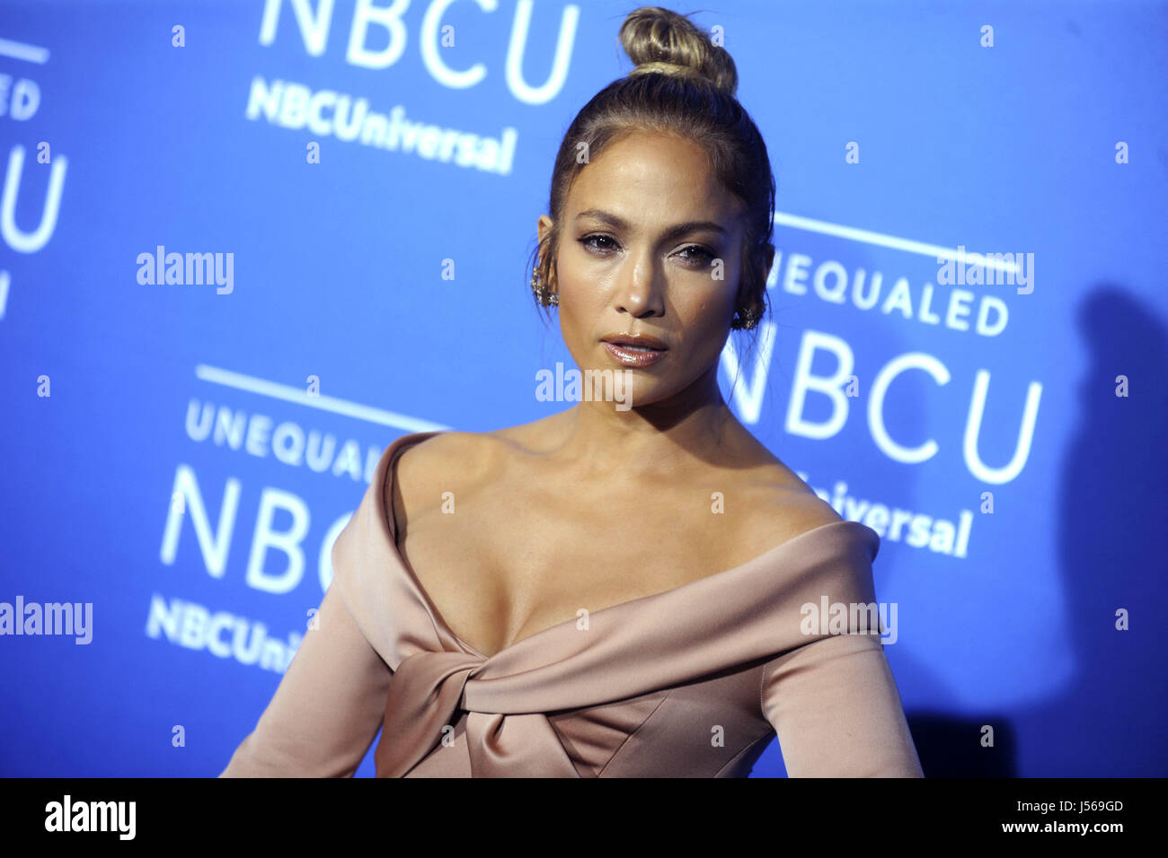 Jennifer Lopez attends the 2017 NBCUniversal Upfront at Radio City Music Hall on May 15, 2017 in New York City. - Stock Image