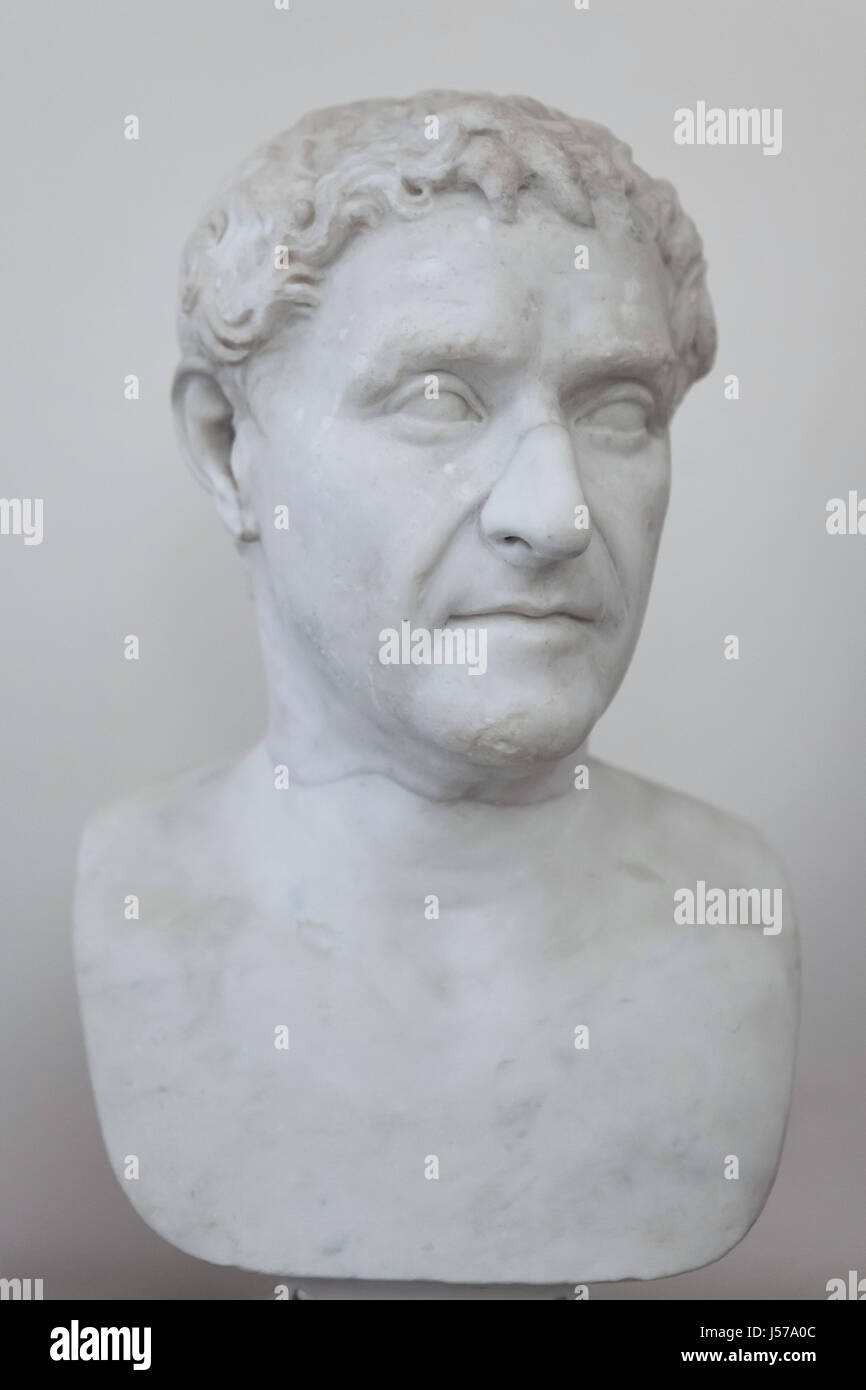 Marble bust of Roman republican statesman Lucius Cornelius Lentulus, who was the consul of the Roman Republic in Stock Photo
