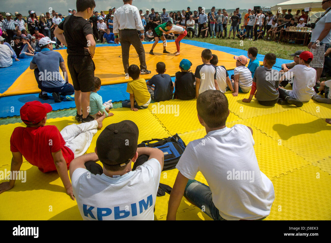 Kurash, a national Crimean Tatar wrestling, held as part of Hidirelez, a celebration of spring and fertility, in - Stock Image