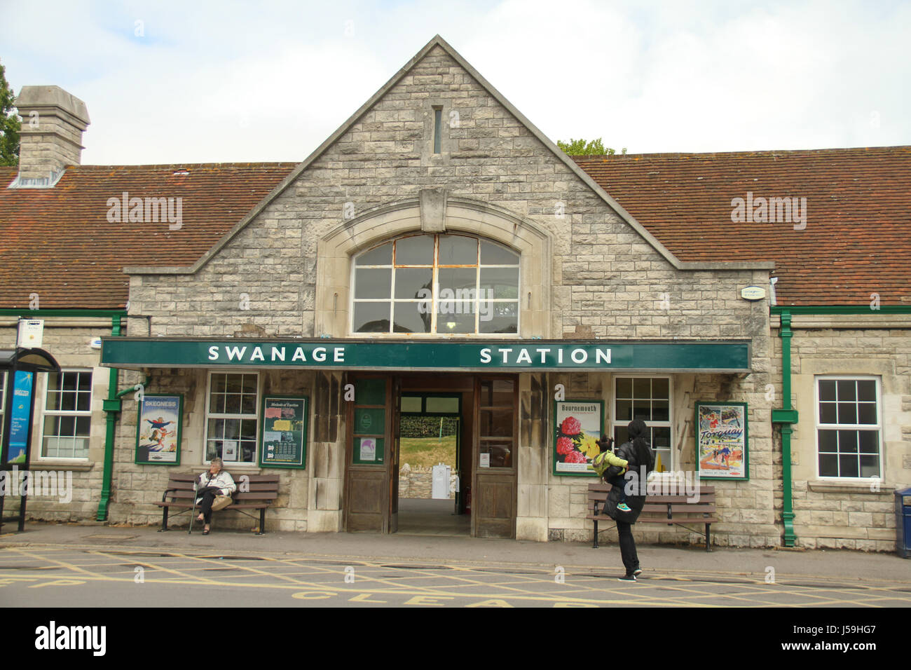 Swanage, UK -  12 May: The Swanage Staion entrance. The station serves teh Swanage steam railway service from Swanage - Stock Image