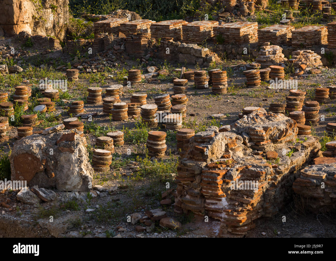 Roman heating system  in al-Mina archaeological site, South Governorate, Tyre, Lebanon - Stock-Bilder