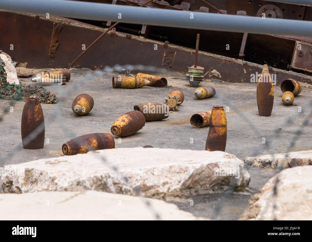Israeli rockets in the war museum operated by Hezbollah called the tourist landmark of the resistance or museum - Stock-Bilder