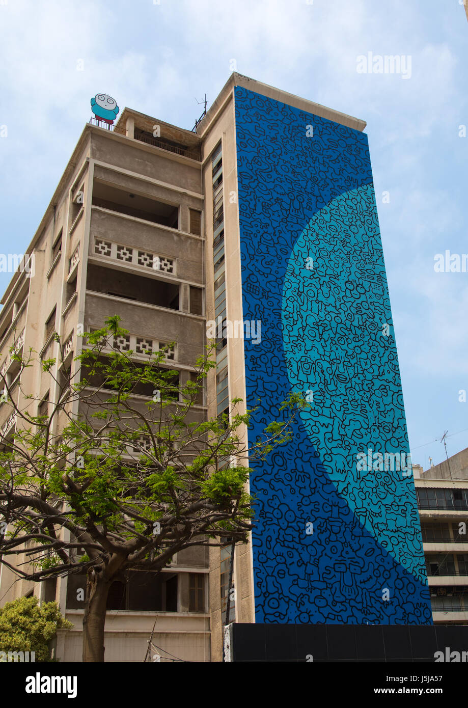 Giant fresco on a building, Beirut Governorate, Beirut, Lebanon - Stock-Bilder