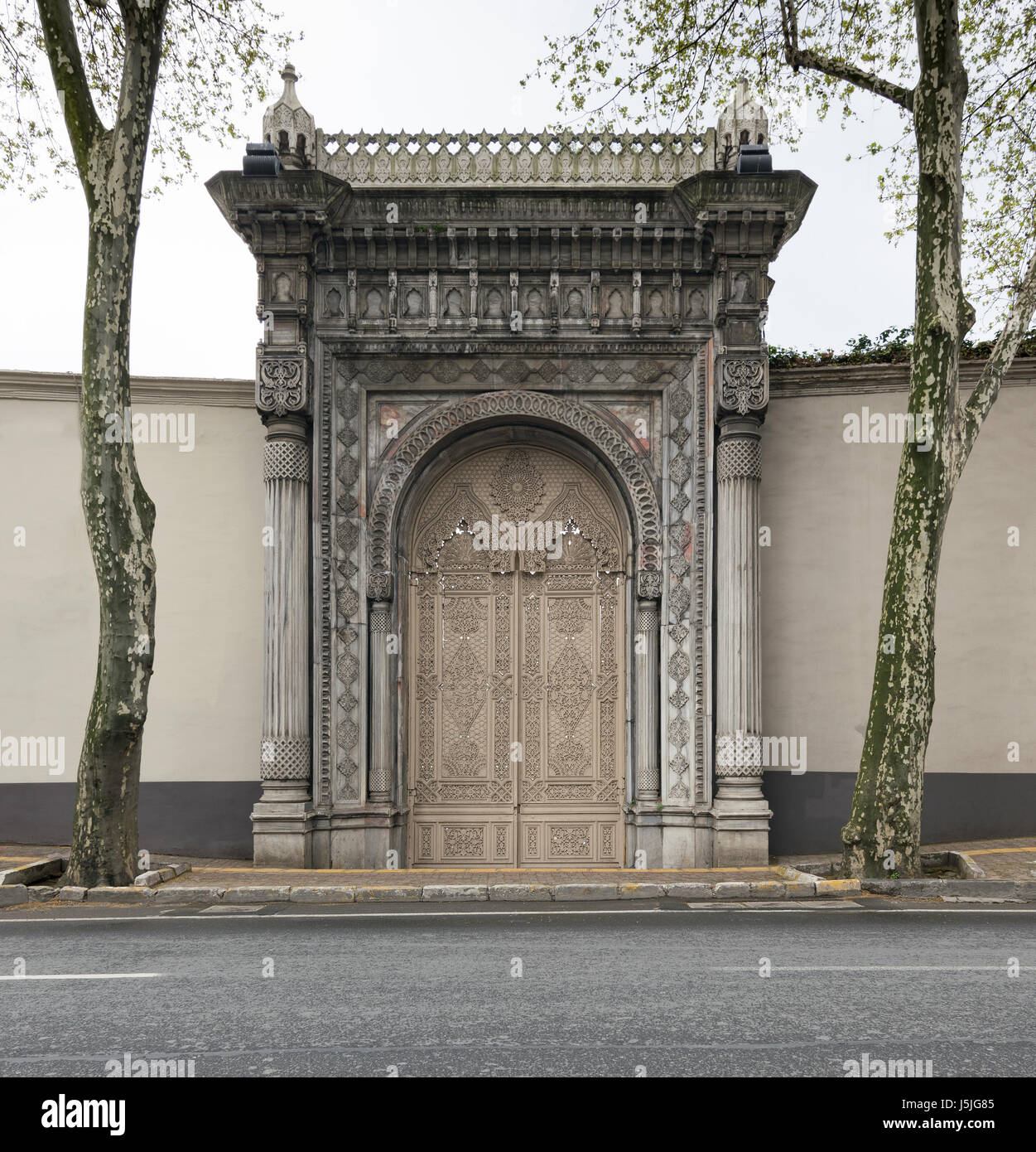 One of the doors leading to the Ciragan Palace at Ciragan Street, a former Ottoman palace located in Beshektash, - Stock Image