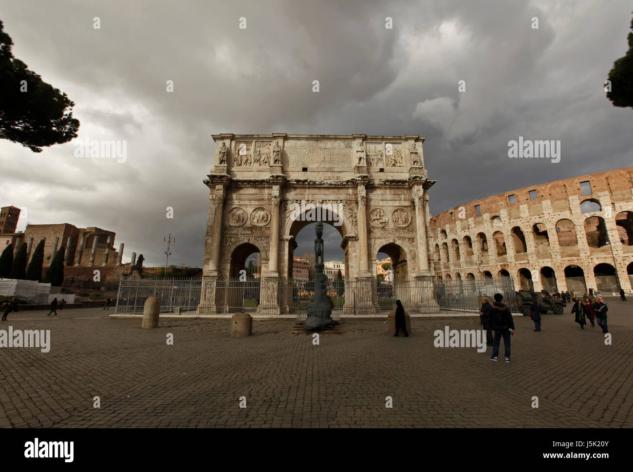 Arco di Costantino, and the colosseum, rome, italy - Stock Image