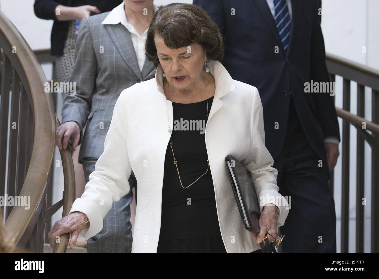 Washington, DIstrict Of Columbia, USA. 18th May, 2017. Senator DIANNE FEINSTEIN (D-CA) arrives at an all senators - Stock Image