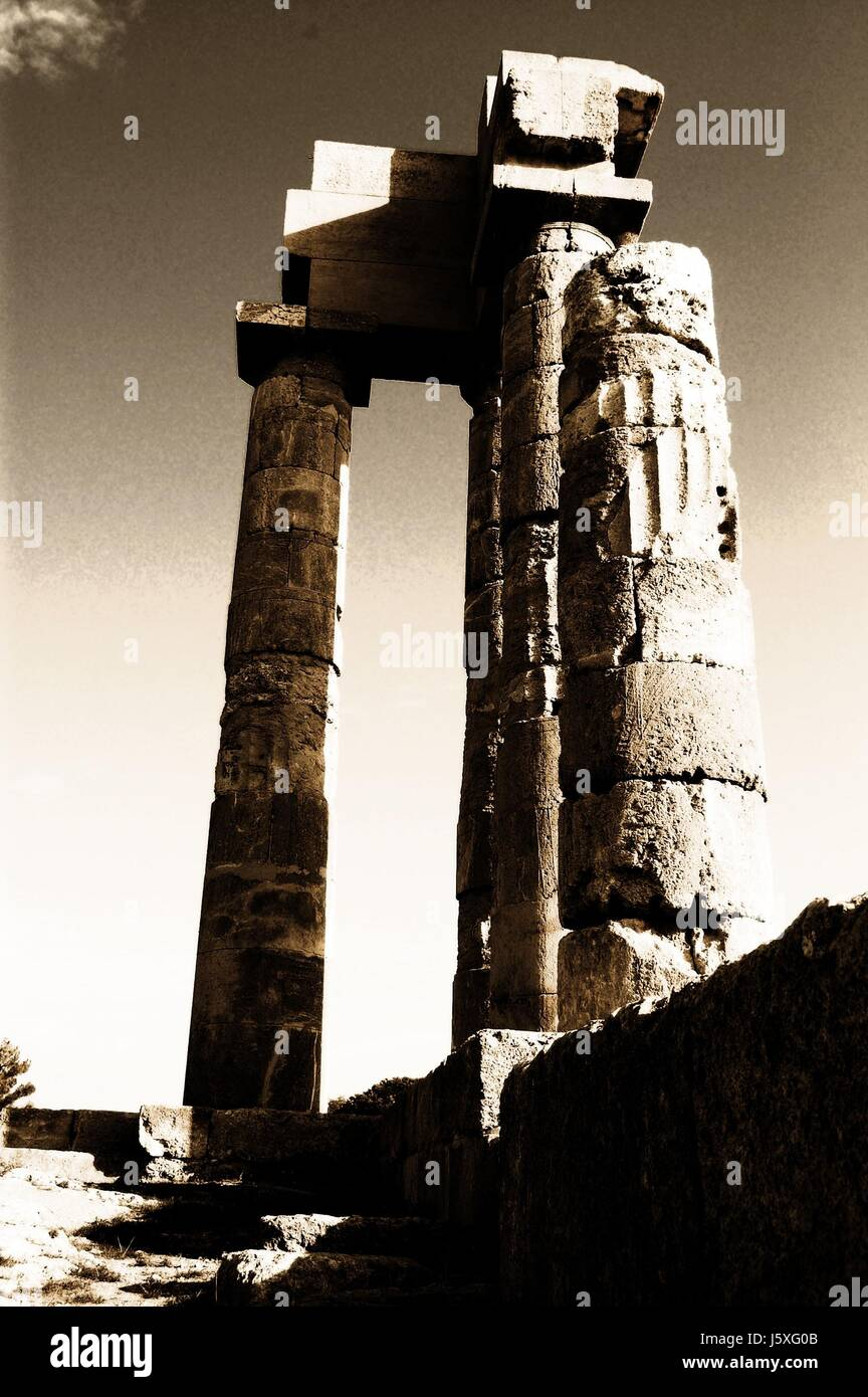 columns,greek,antiquity,temple,sepia,greece,rhodos - Stock-Bilder