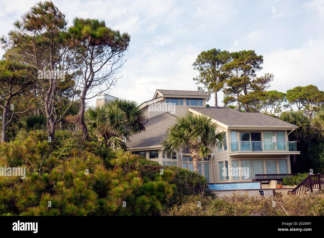 South Carolina Hilton Head Island Sea Pines Plantation Atlantic Ocean resort beach house home exclusive upscale - Stock Image