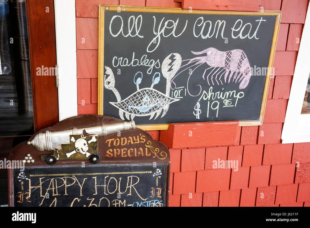 South Carolina Hilton Head Island Sea Pines Plantation South Beach Marina Village restaurant menu special. blackboard - Stock Image