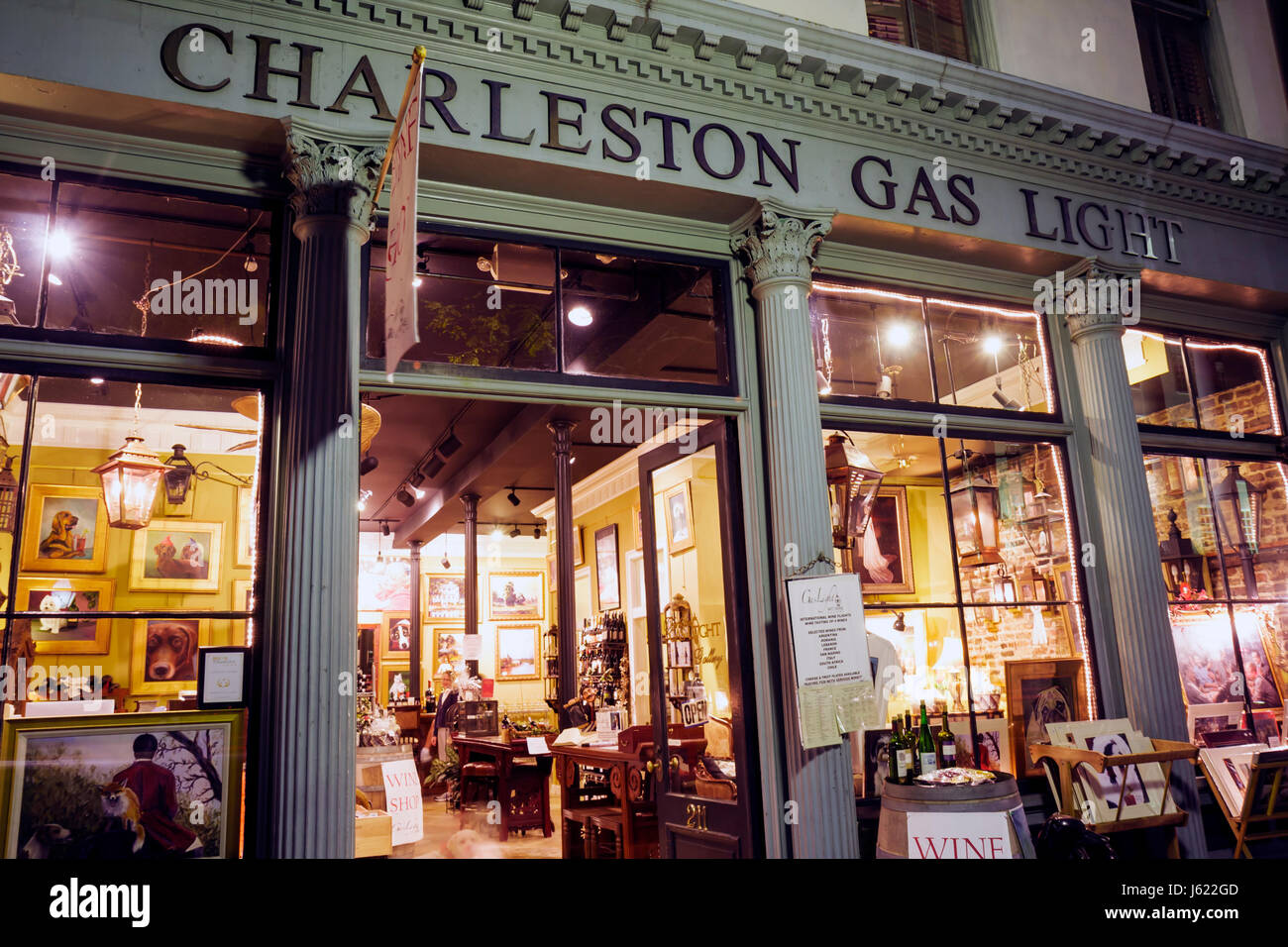 Charleston South Carolina Historic District Meeting Street Gas Light Art and Wine Gallery store business winery - Stock Image