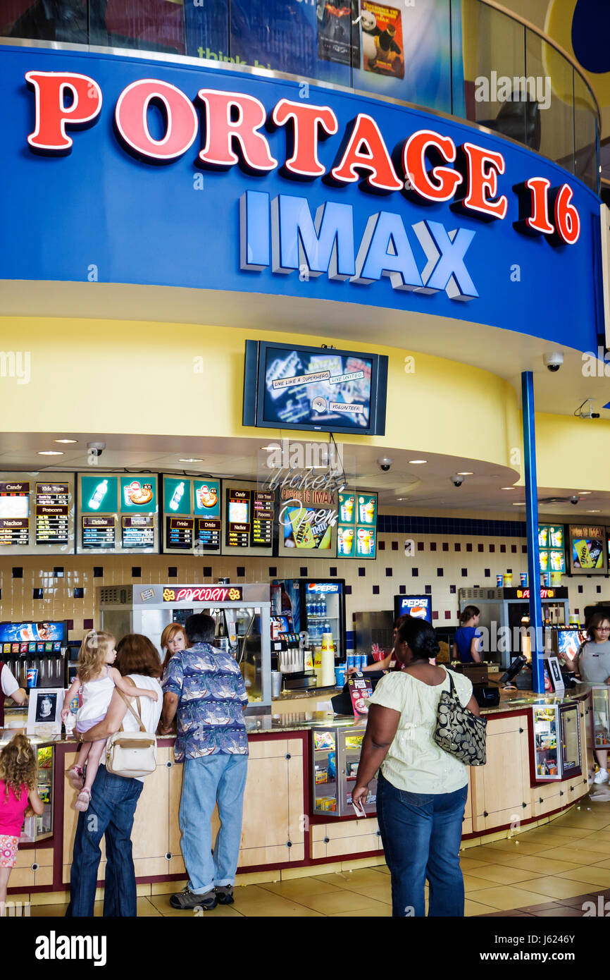 Indiana Portage Portage 16 IMAX movie theater complex concession food counter snacks popcorn drinks families entertainment - Stock Image