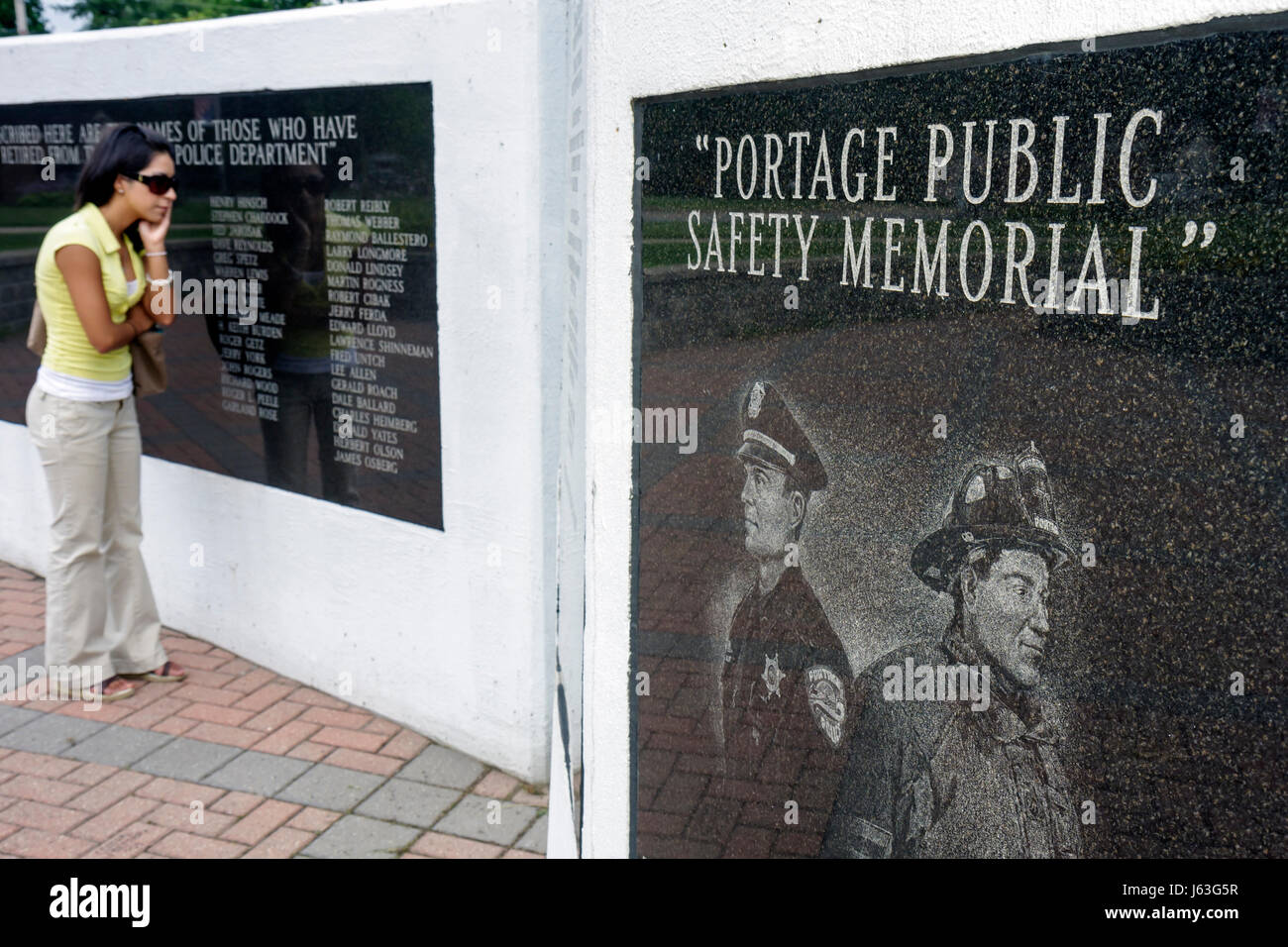 Indiana Portage Gilbert Memorial Park Portage Public Safety Memorial police fire department honor retiree community - Stock Image