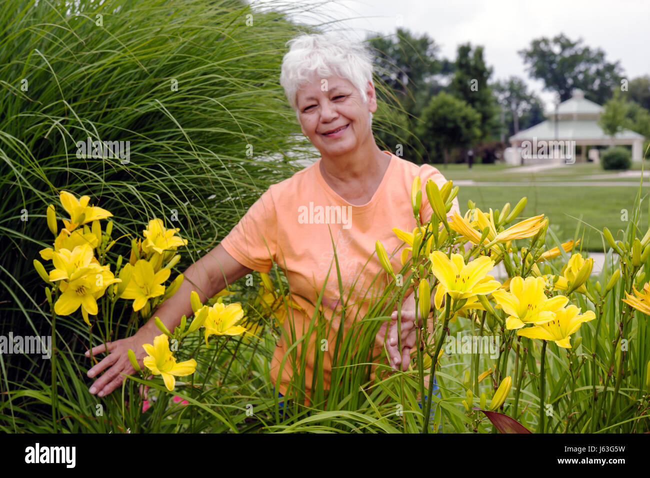 Indiana Portage Gilbert Memorial Park Portage Public Safety Memorial woman yellow lillies flower garden - Stock Image