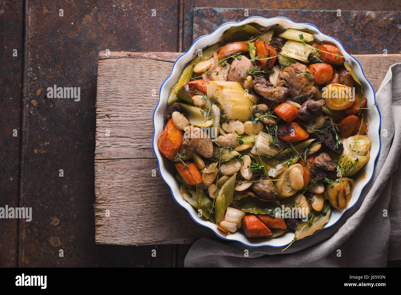 Ready-made kasul with pork and lamb and vegetables - Stock Image