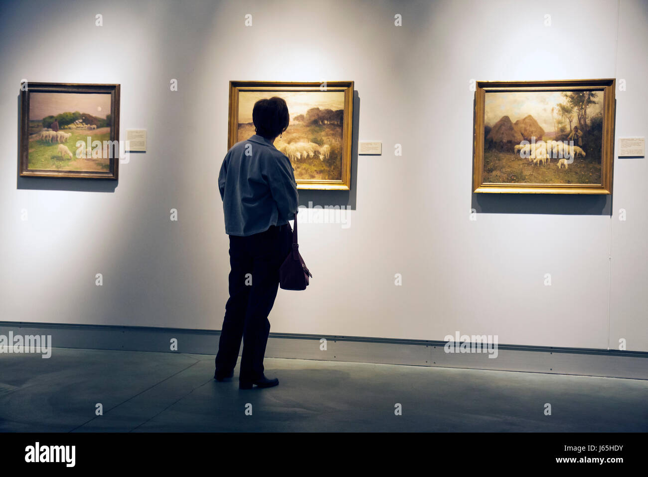 Saginaw Michigan Saginaw Art Museum education exhibit collection woman middle-aged looking framed paintings landscapes - Stock Image