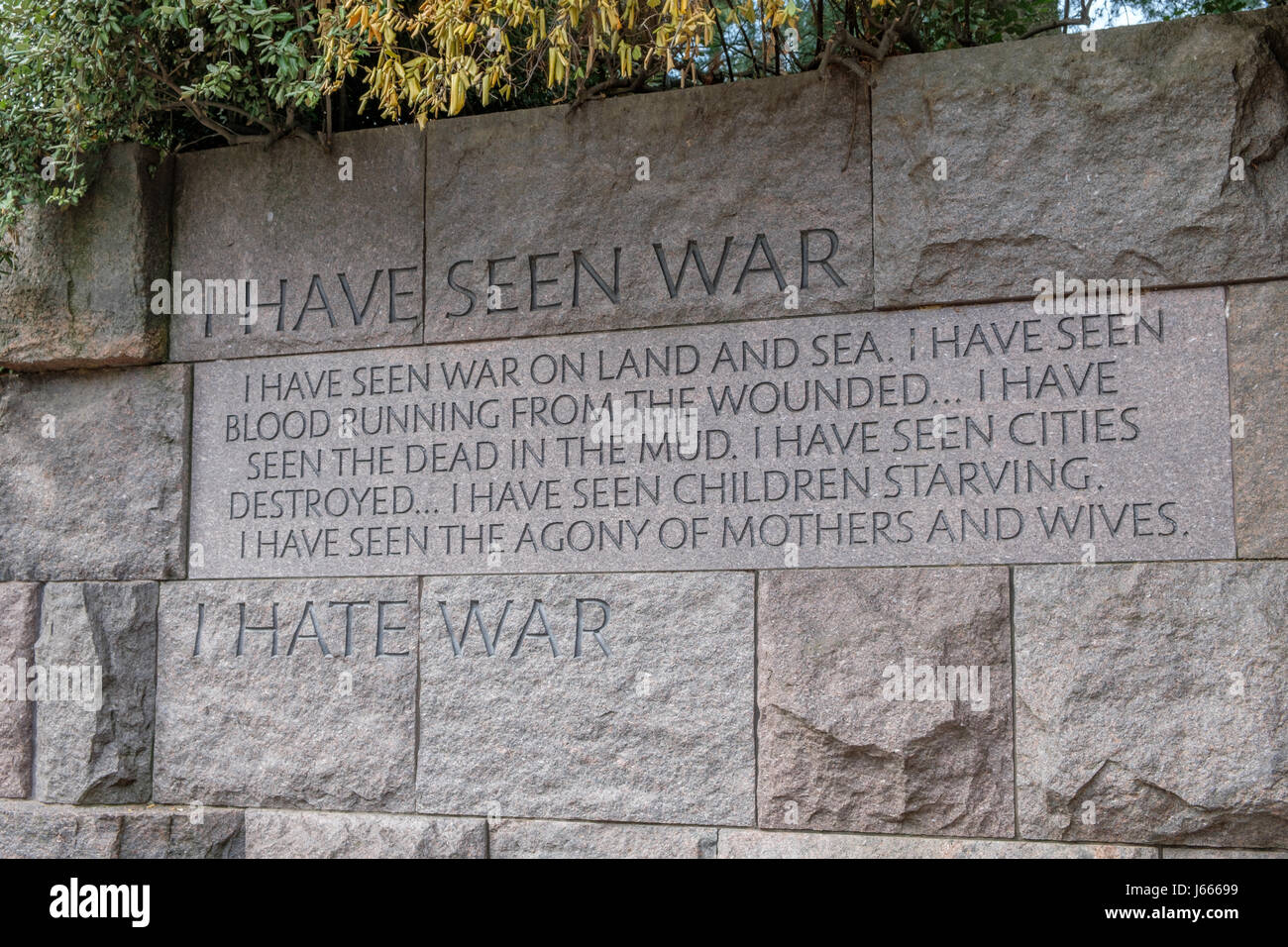 I Hate War Quote, FDR Memorial, Washington, DC - Stock Image