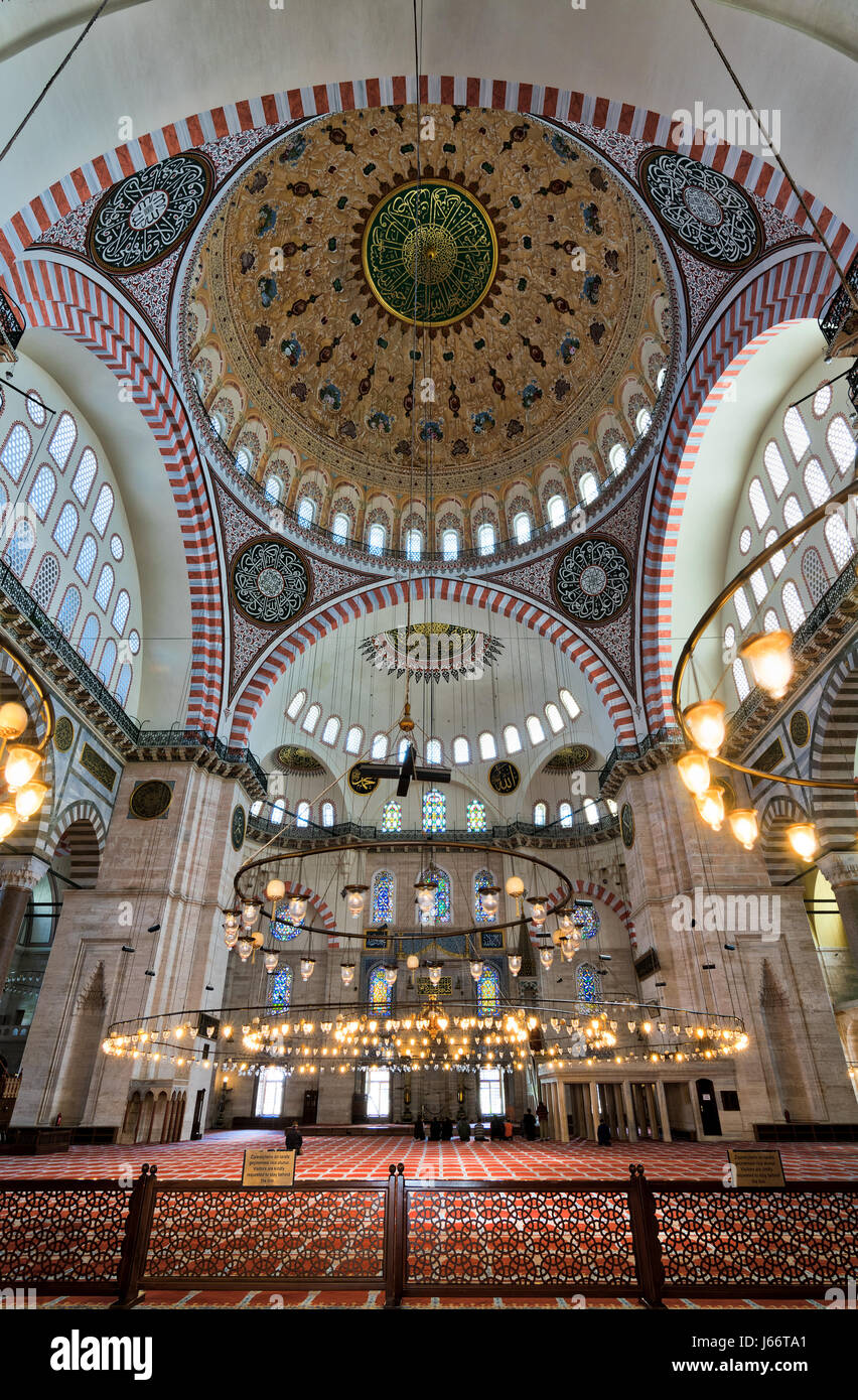 Interior low angle shot of Suleymaniye Mosque, an Ottoman imperial mosque built in 1557, located on the Third Hill - Stock Image