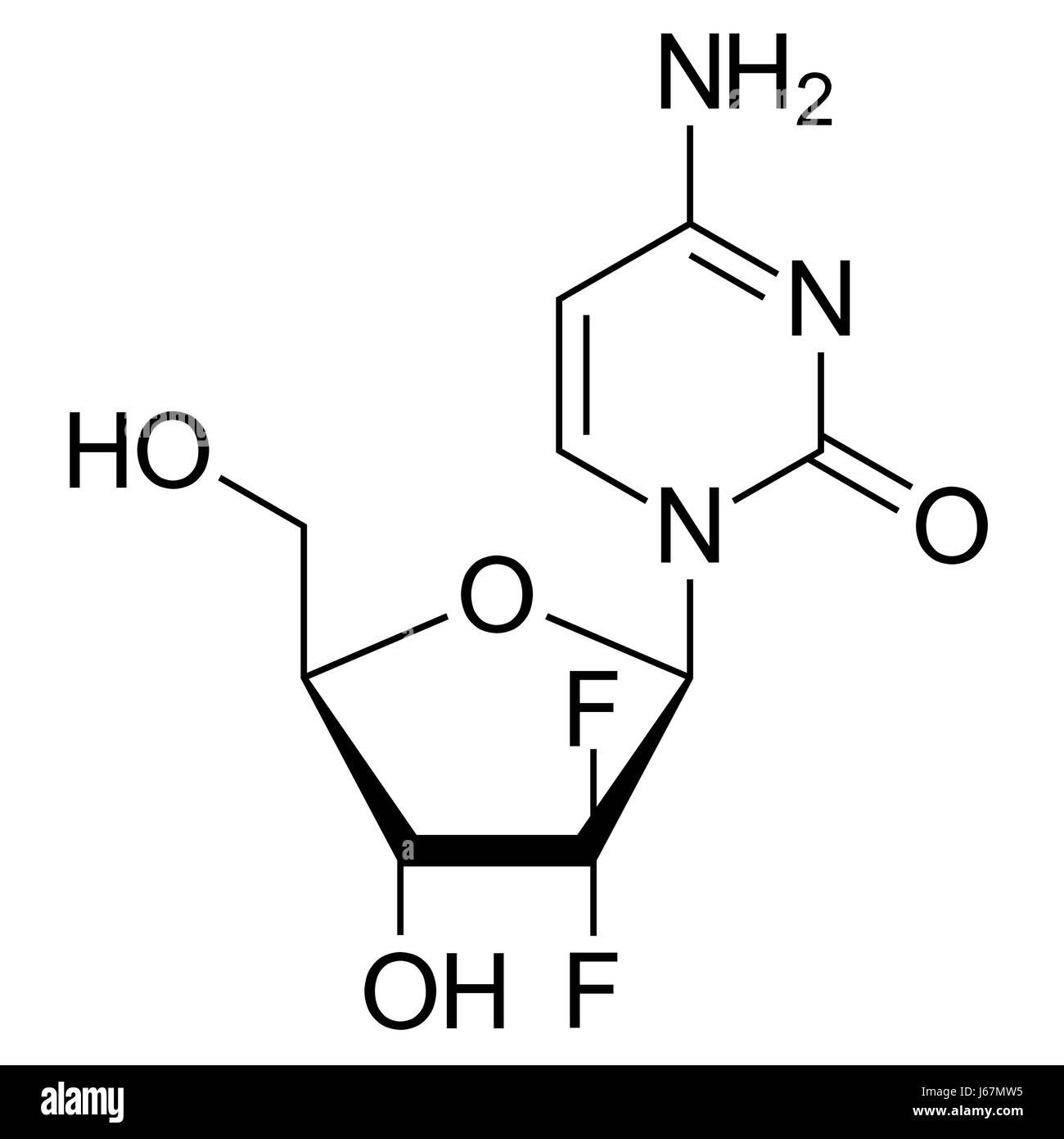 Skeletal formula (chemical structure) of Gemcitabine, a chemotherapy drug molecule. - Stock-Bilder