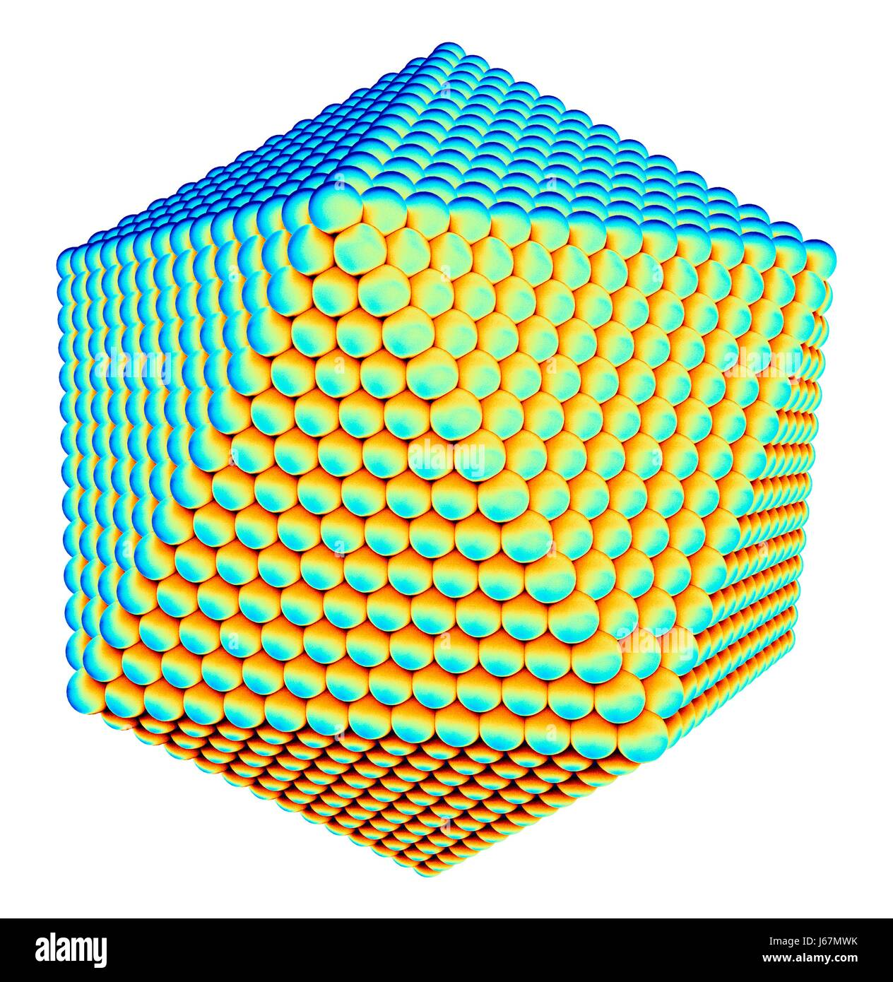 Computer artwork of an icosahedral virus capsid. The capsid is the protein shell of the virus and encloses it's - Stock-Bilder