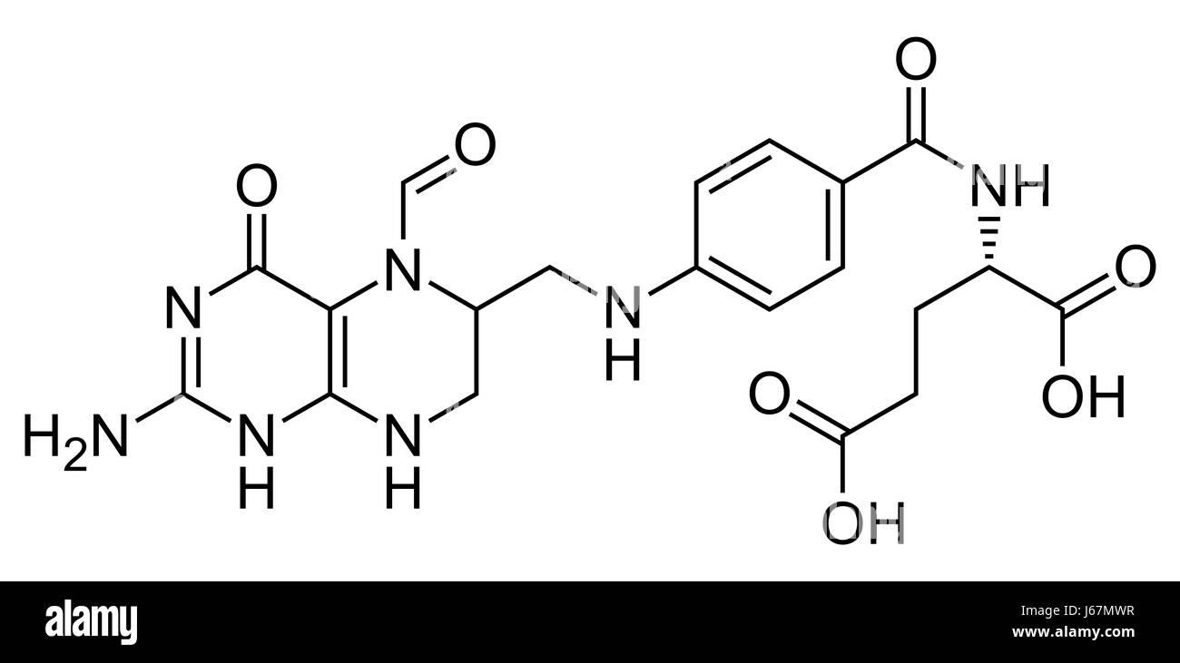 Skeletal formula (chemical structure) of olinic acid (leucovorin) drug molecule. Used as adjuvant during cancer - Stock-Bilder